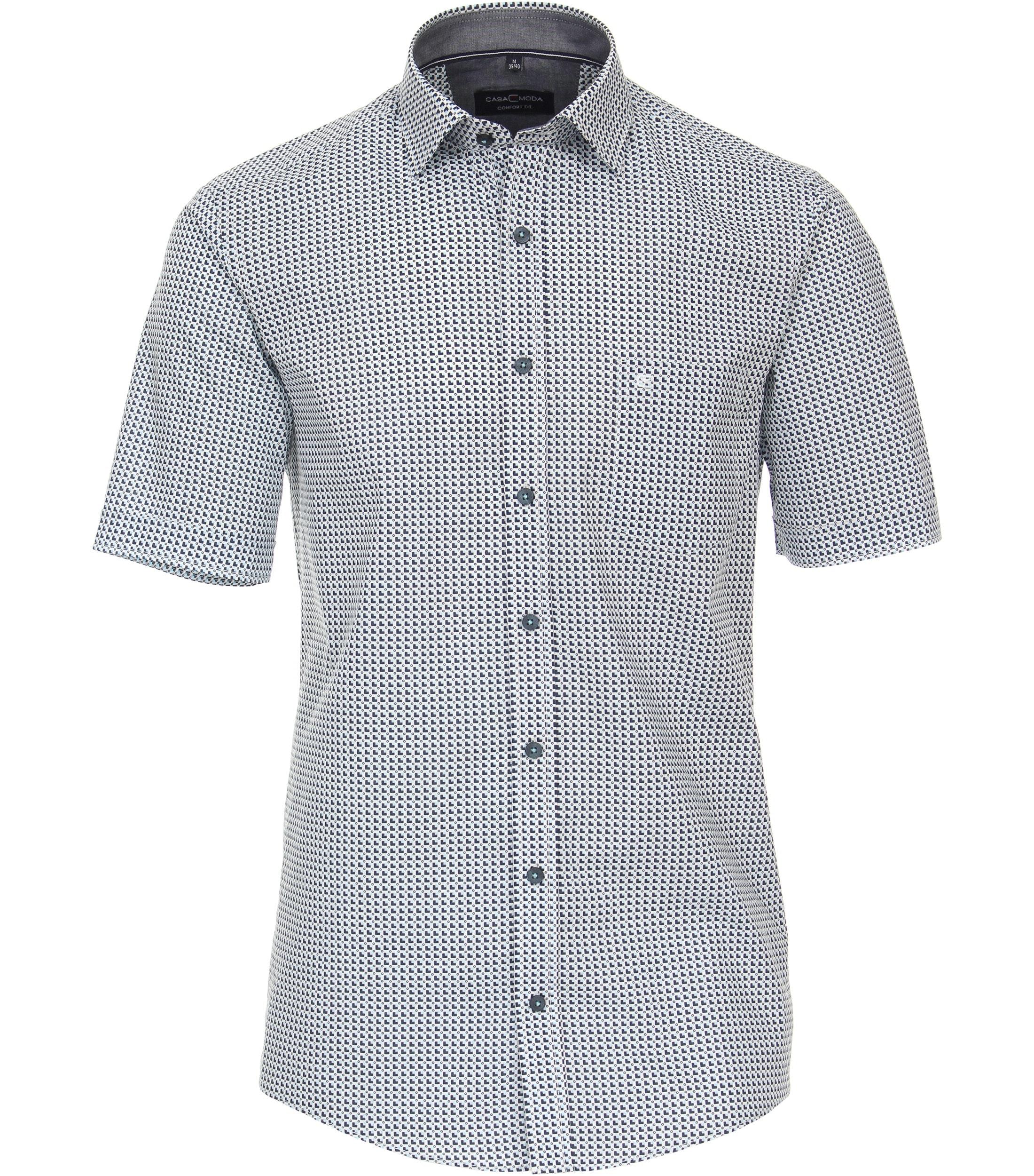 Overhemd met korte mouw van merk CASA MODA in de kleur lichtblauw, gemaakt van 100% katoen.