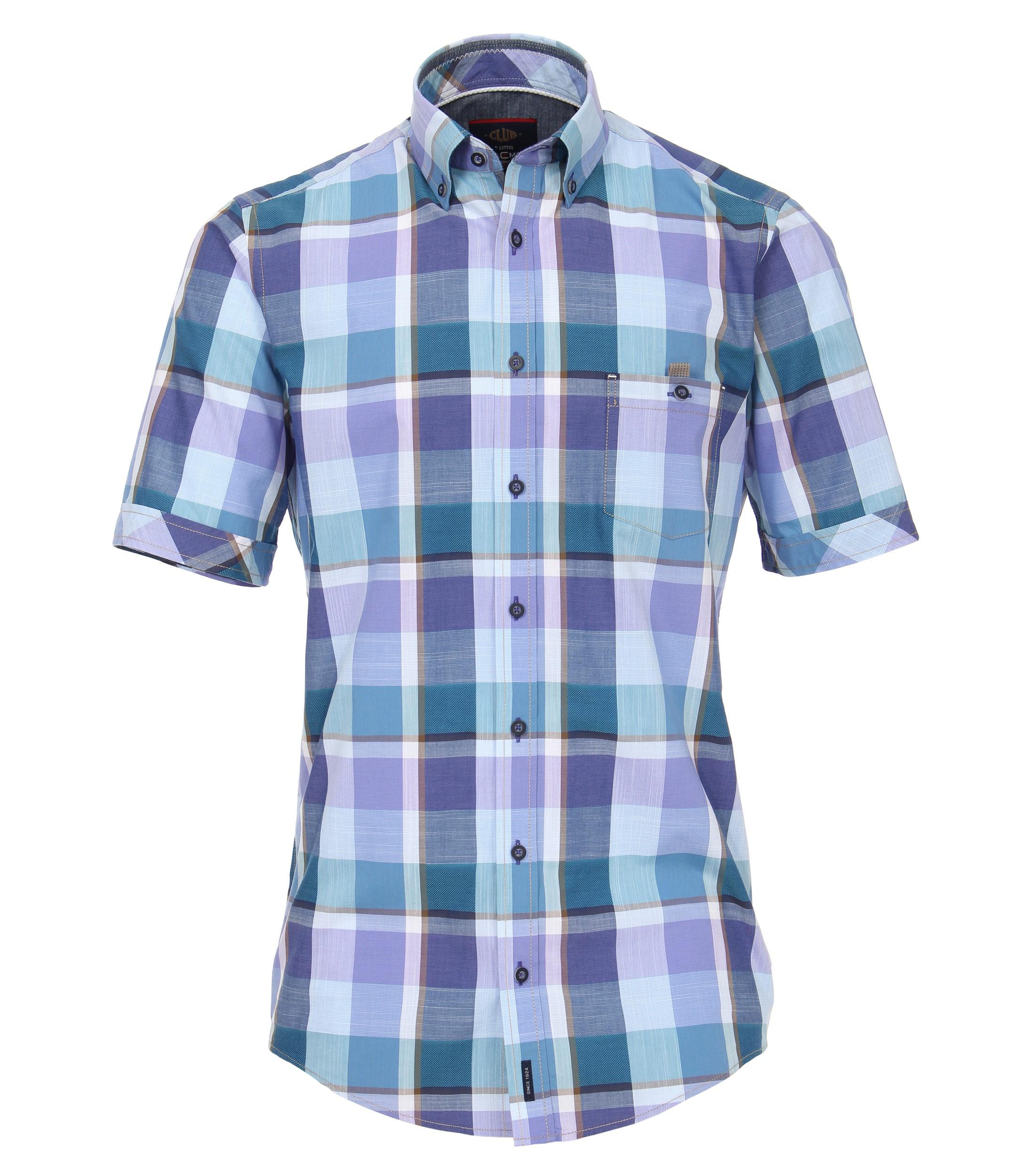 Geblokt overhemd met korte mouwen van Casa Moda met button down kraag, heeft een borstzakje met knoopsluiting. Het overhemd is rond afgezoomd. Erg mooi overhemd voor de zomer.