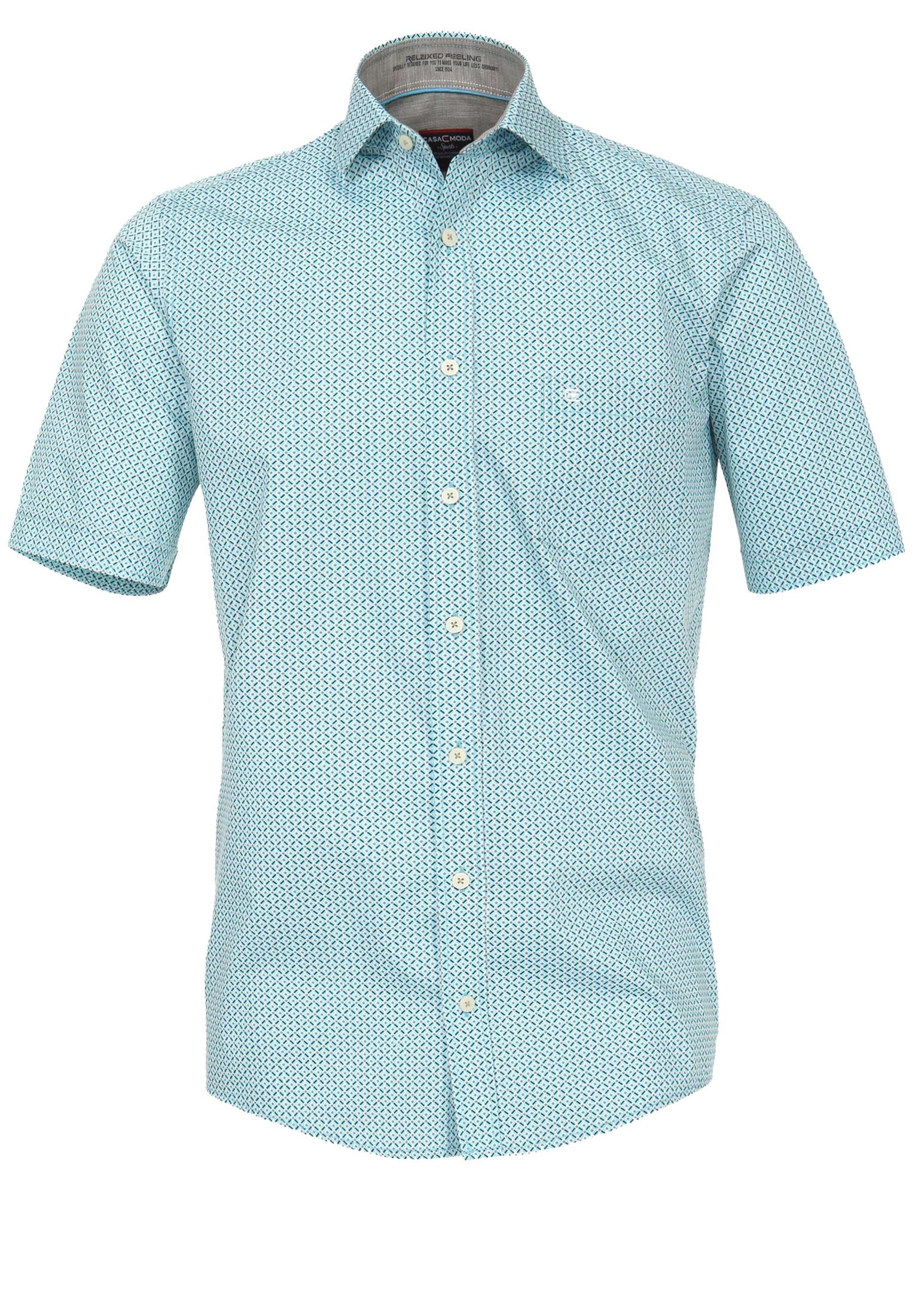 Overhemd met korte mouwen van Casa Moda. Het overhemd heeft een borstzakje op de linkerkant. Het overhemd is rond afgezoomd. Erg mooi overhemd voor de zomer.