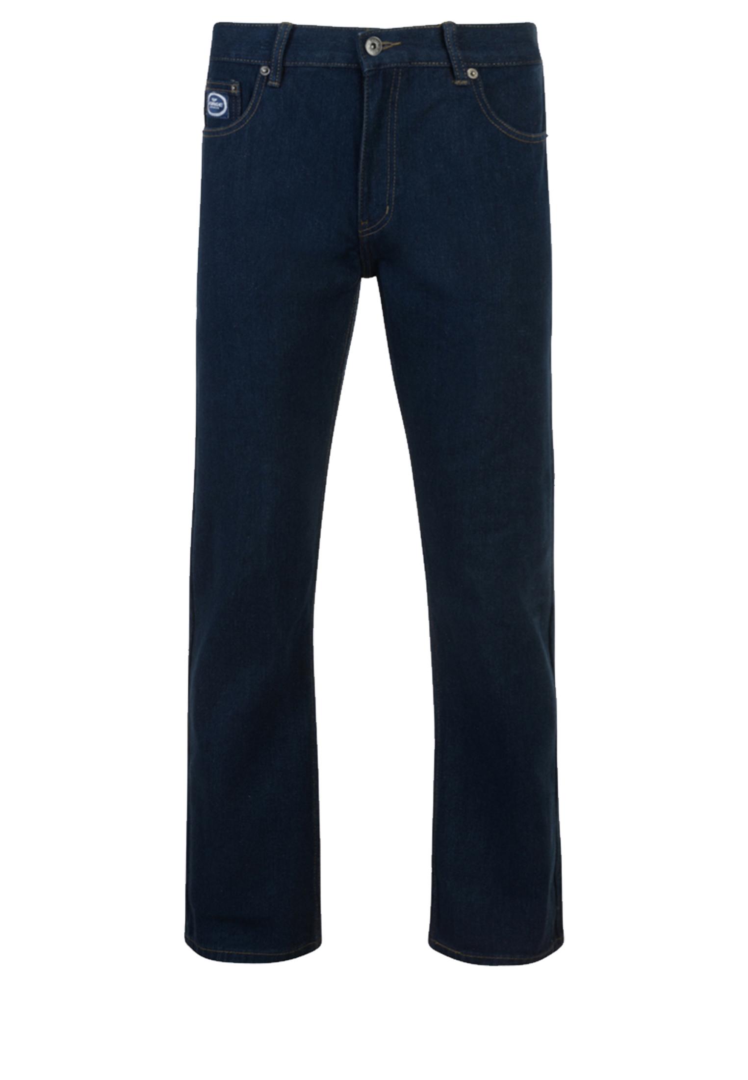 Indigo basic jeans (FORGE, by KAM Jeans) met rechte pijpen, een rits-knoopsluiting, 2 steekzakken voor waarvan 1 met een muntzakje en 2 achterzakken me contrasterende stiksel.  Beenlengte: 34 Inch