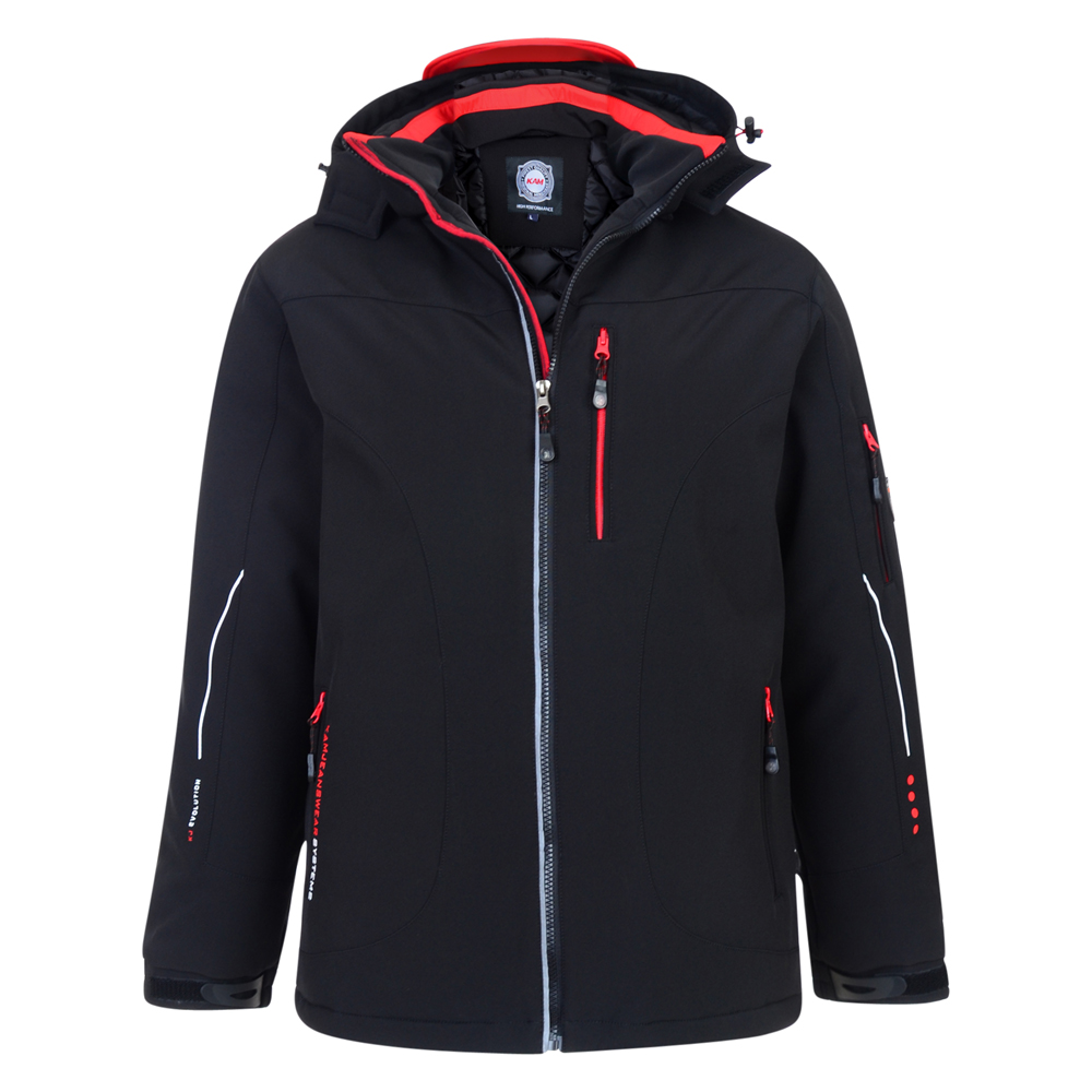 Dik gewatteerde softshell jas van KAM Jeanswear  één borstzak met rits twee zakken aan de voorkant één linkerarmzak met rits