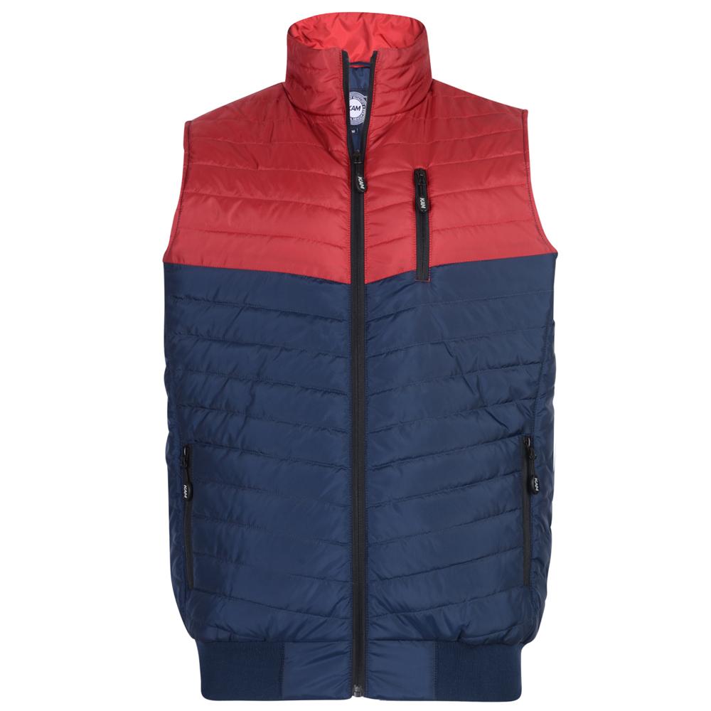 gewatteerde bodywarmer van KAM Jeanswear met contrast kleuren