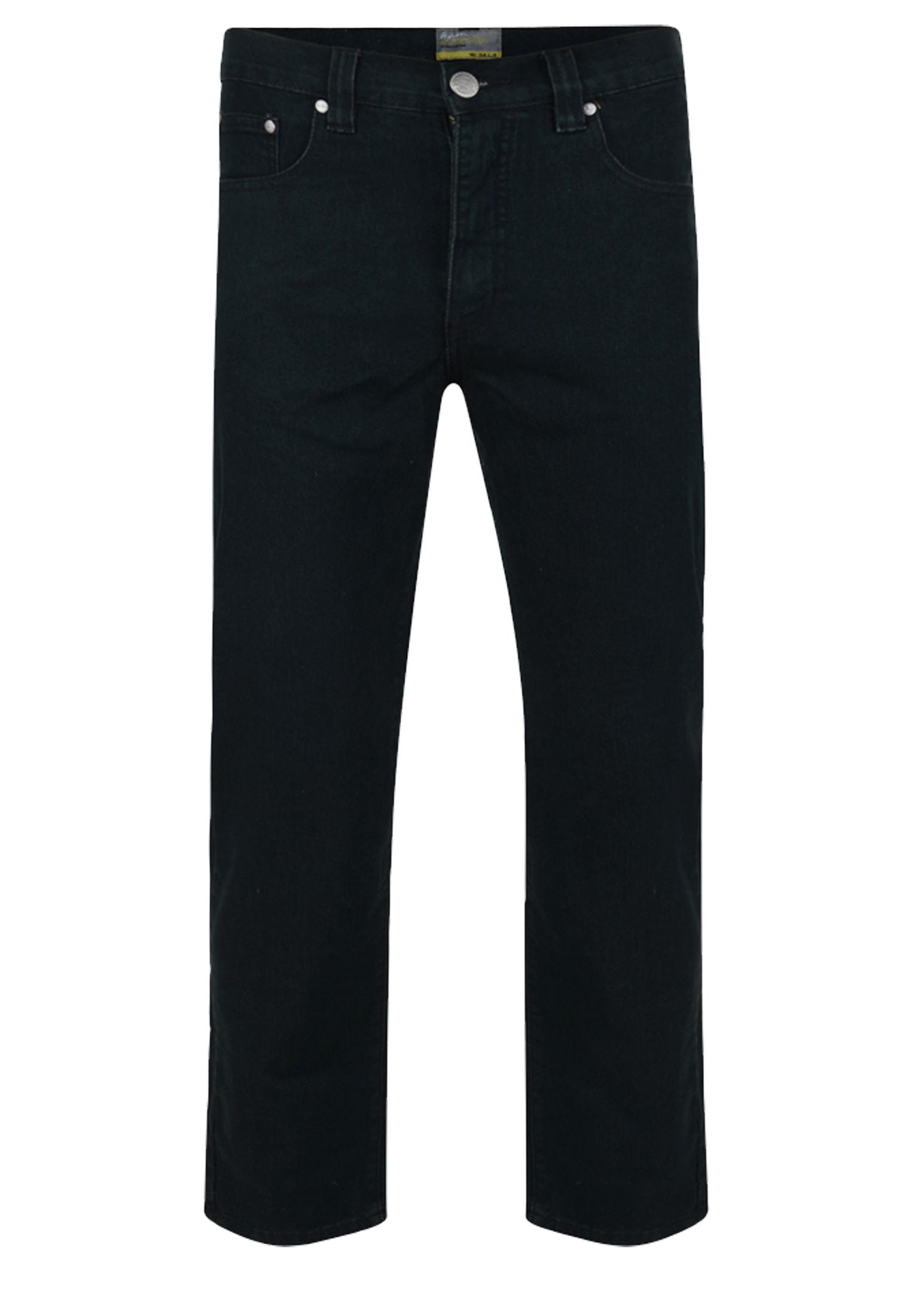 Zwarte stretch jeans met rechte pijpen, een rits-knoopsluiting, 2 steekzakken voor waarvan 1 met een muntzakje en 2 achterzakken met contrasterend stiksel.Beenlengte: 34 Inch