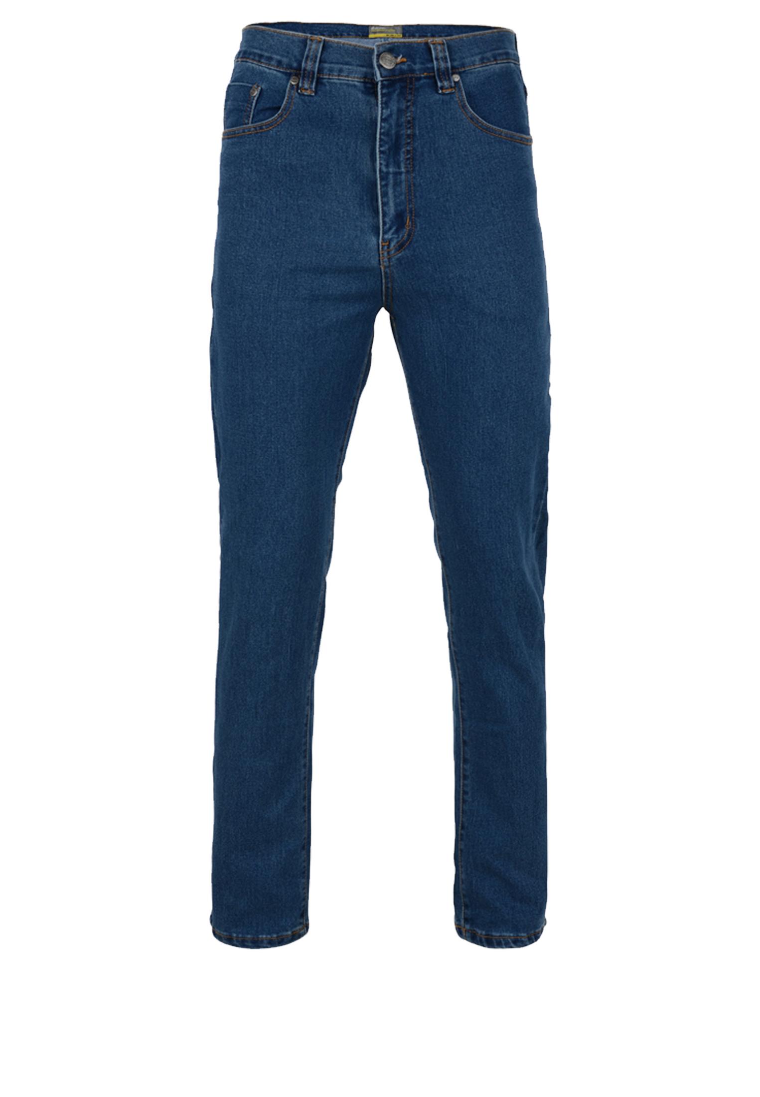 Stone-wash stretch jeans met rechte pijpen, een rits-knoopsluiting, 2 steekzakken voor waarvan 1 met een muntzakje en 2 achterzakken met contrasterend stiksel.  Beenlengte: 34 Inch