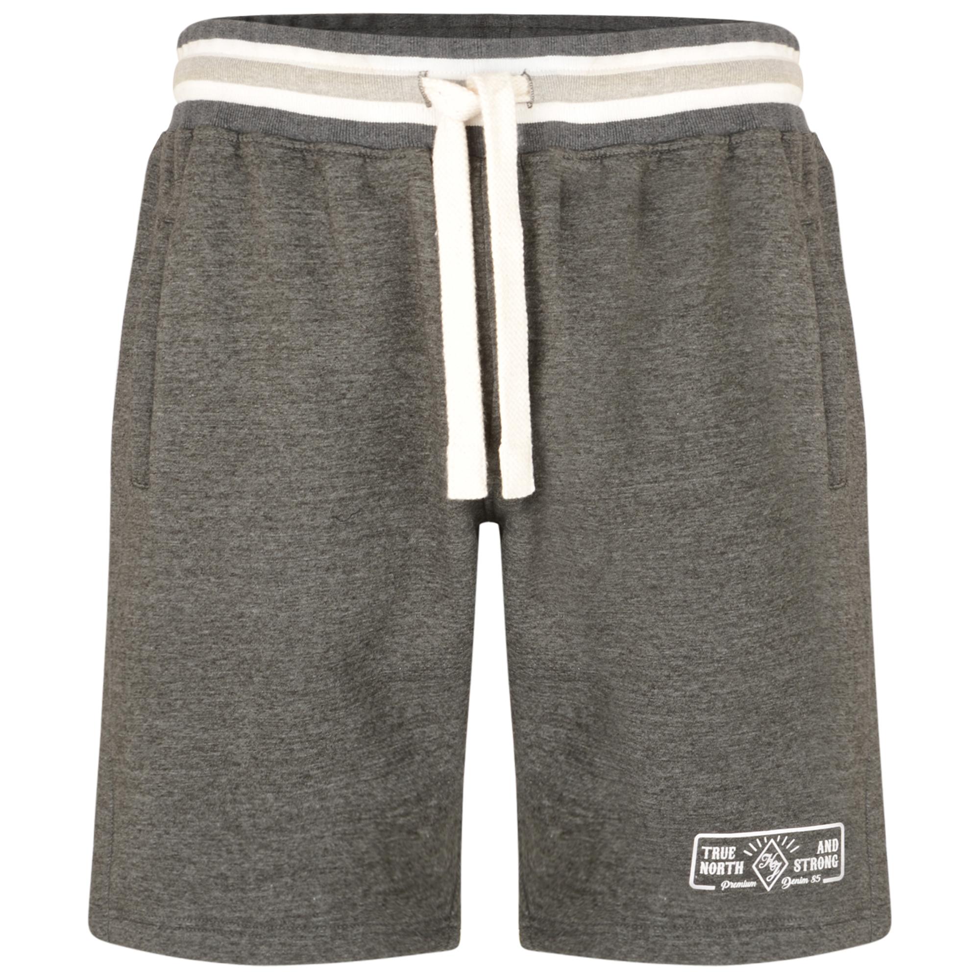 Jogging shorts van merk KAM Jeanswear in de kleur charcoal, gemaakt van 65% cotton 35% polyester.  Fijne zachte stof met hoog draagcomfort. Elastische band met trekkoord, print op linkerpijp