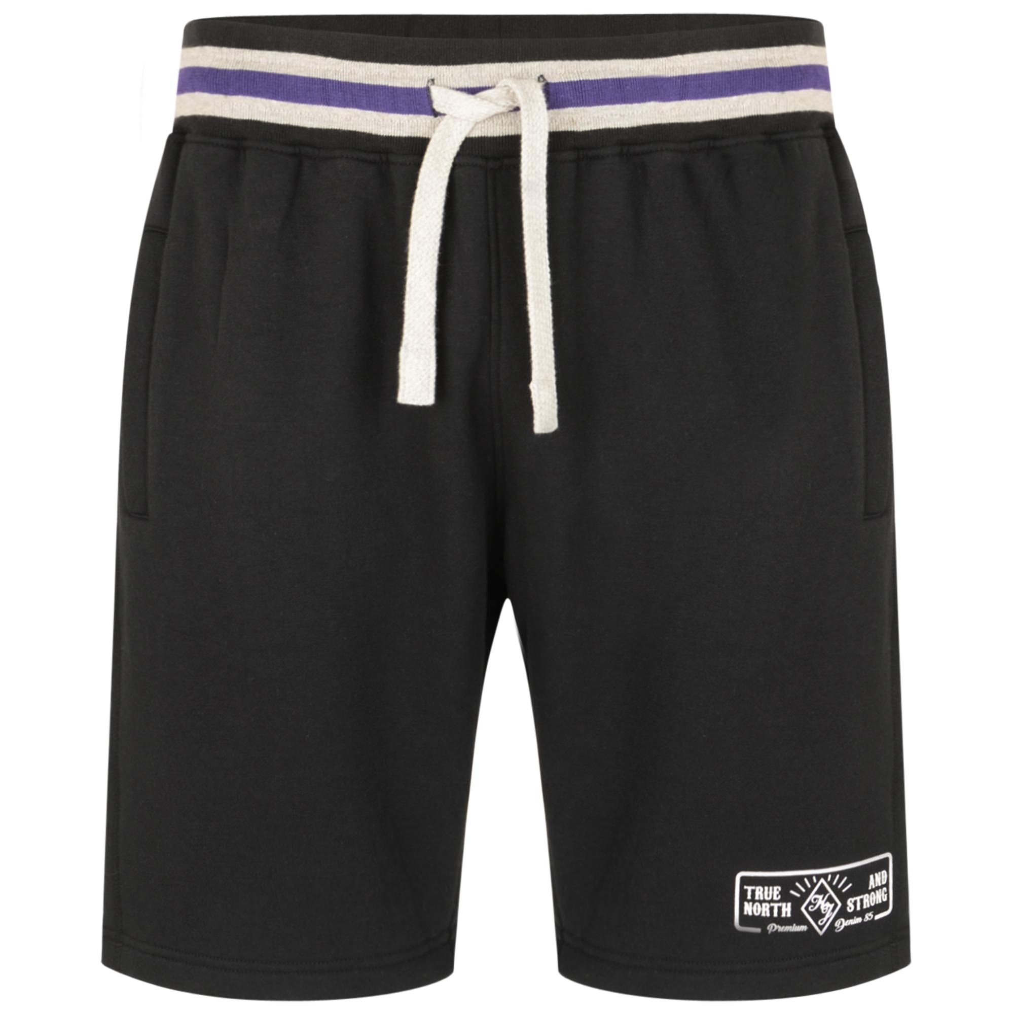 Jogging shorts van merk KAM Jeanswear in de kleur zwart, gemaakt van 65% cotton 35% polyester. Fijne zachte stof met hoog draagcomfort. Elastische band met trekkoord, print op linkerpijp