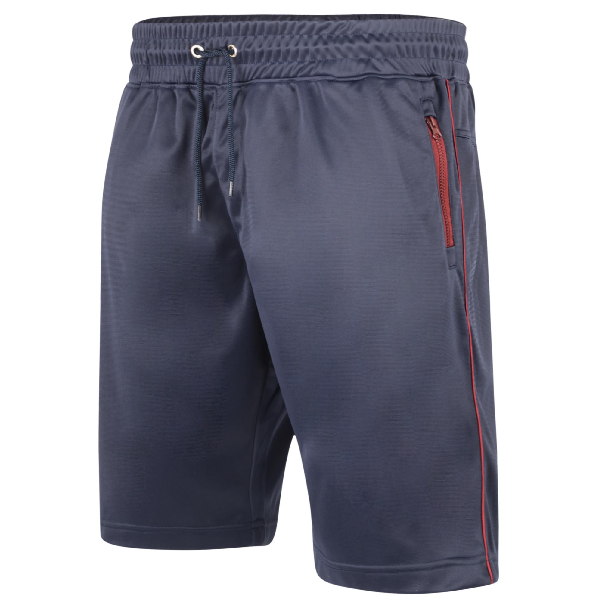 Tricot Shorts van merk KAM Jeanswear in de kleur navy, gemaakt van polyester. Contrast striping op de pijpen, zijzakken met rits, elastiek en trekkoord in de tailleband.
