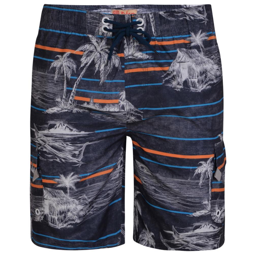"""Zwembroek """"Palm Swimmers"""" met mooie print van zonnige oorden. Trekkoord in de taille"""
