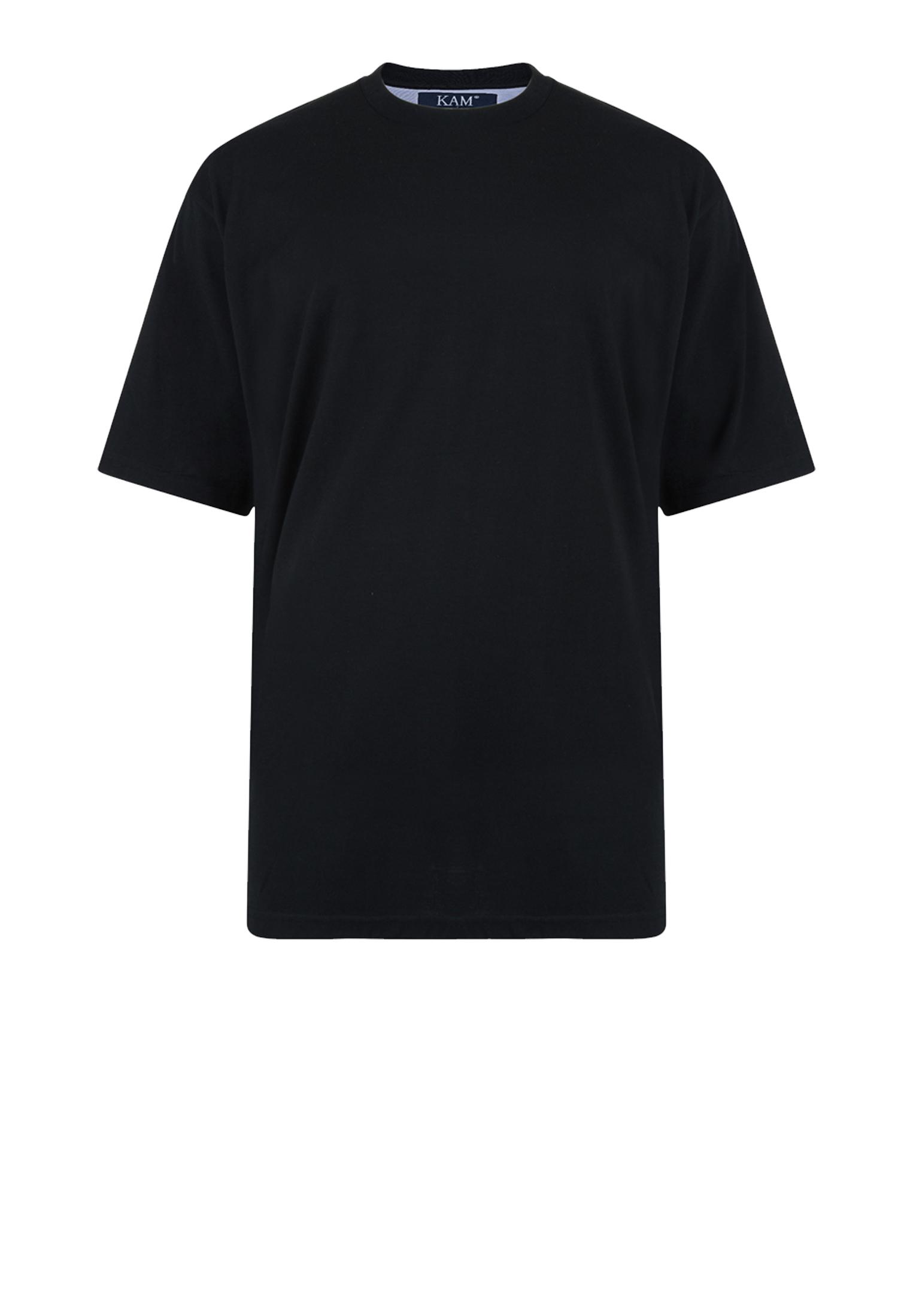 KAM JEANSWEAR effen kleur t-shirt met ronde hals in de kleur zwart.