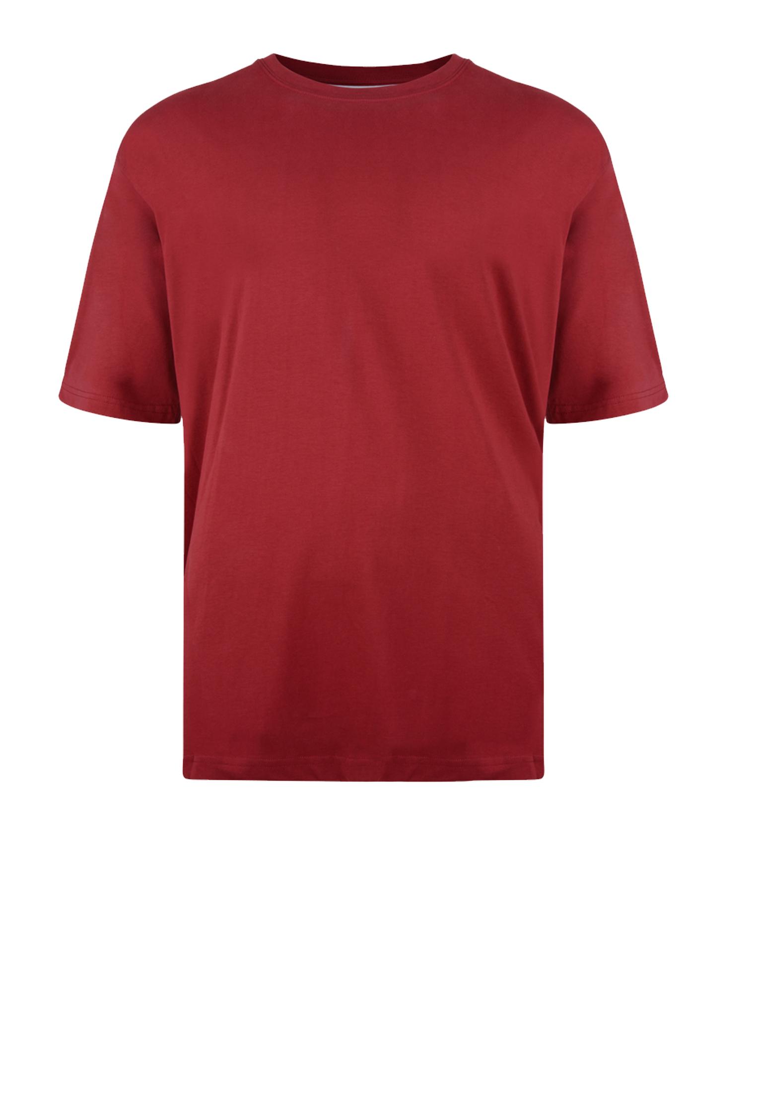 KAM JEANSWEAR effen kleur t-shirt met ronde hals in de kleur bordeaux rood.