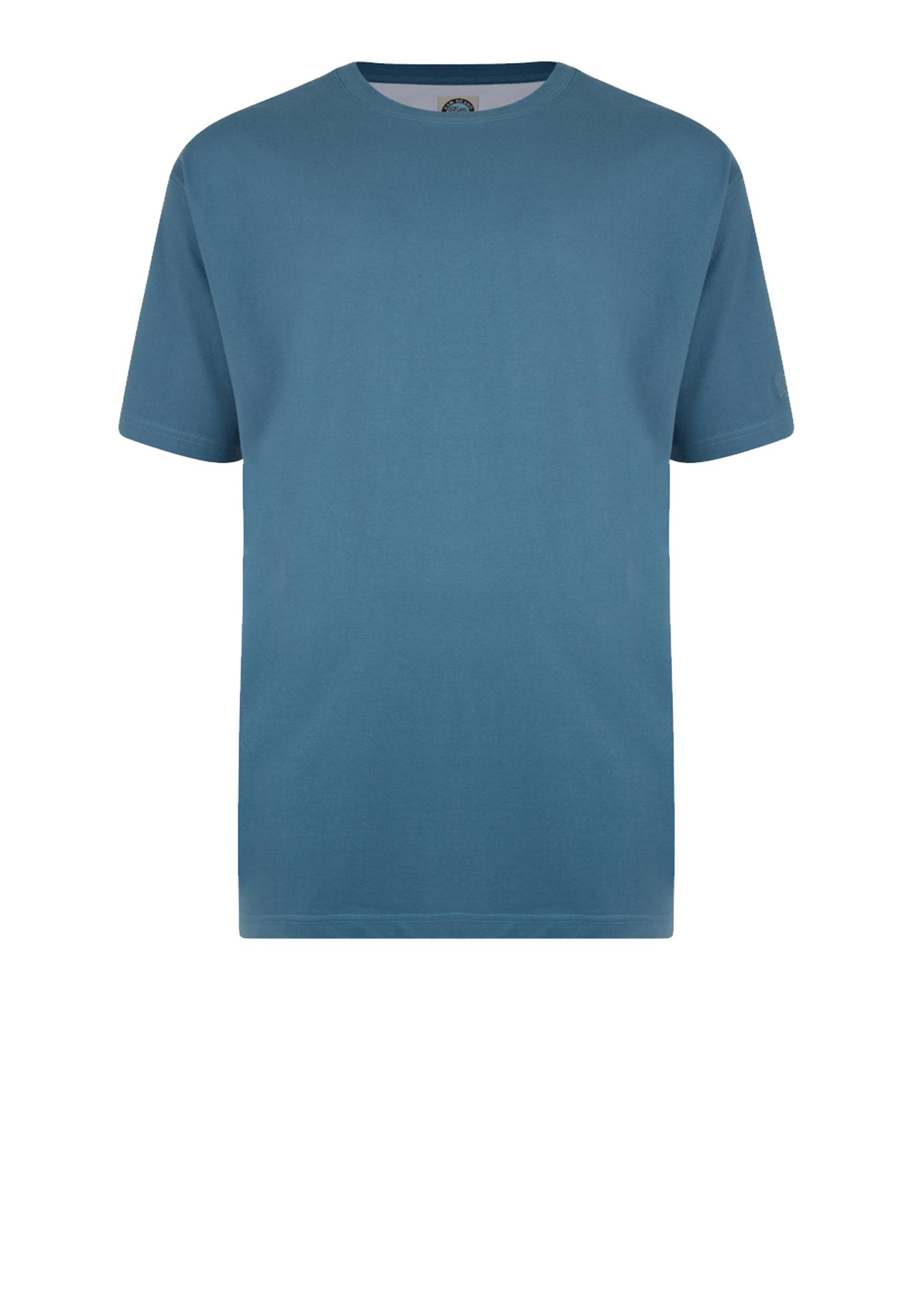 KAM JEANSWEAR effen kleur t-shirt met ronde hals in de kleur denim.
