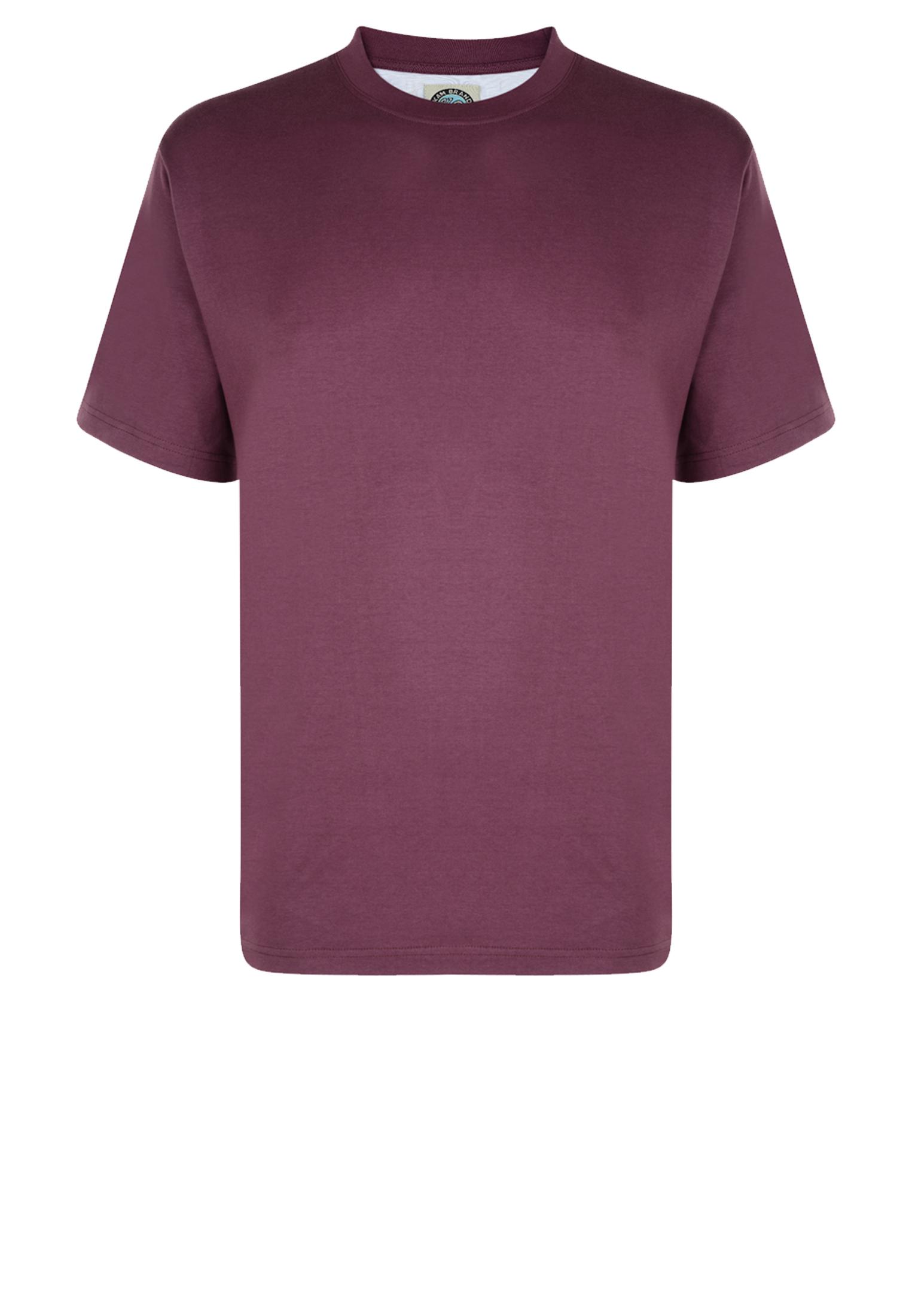 KAM JEANSWEAR effen kleur t-shirt met ronde hals in de kleur paars.