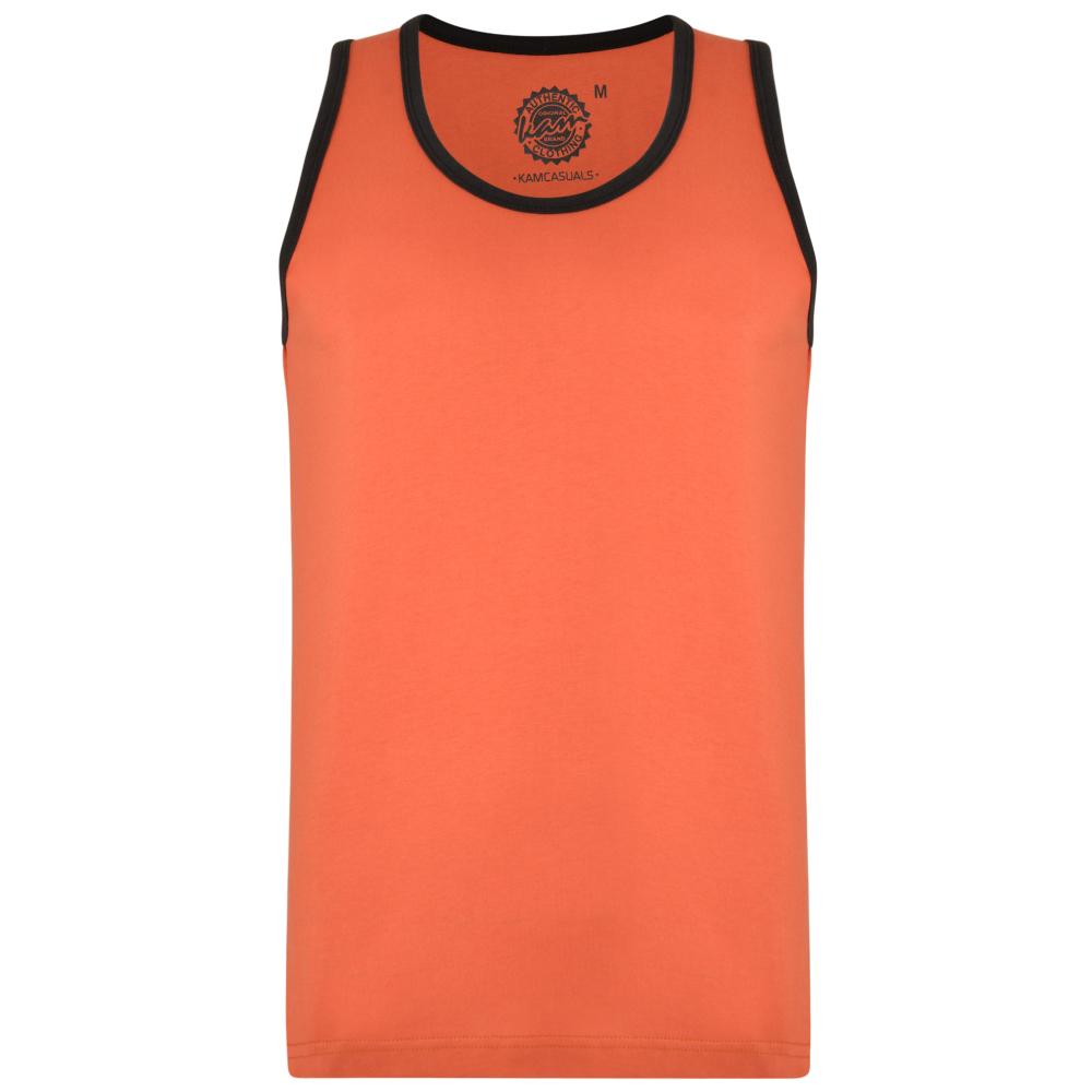 Tanktop van KAM jeanswear oranje met zwarte afwerking