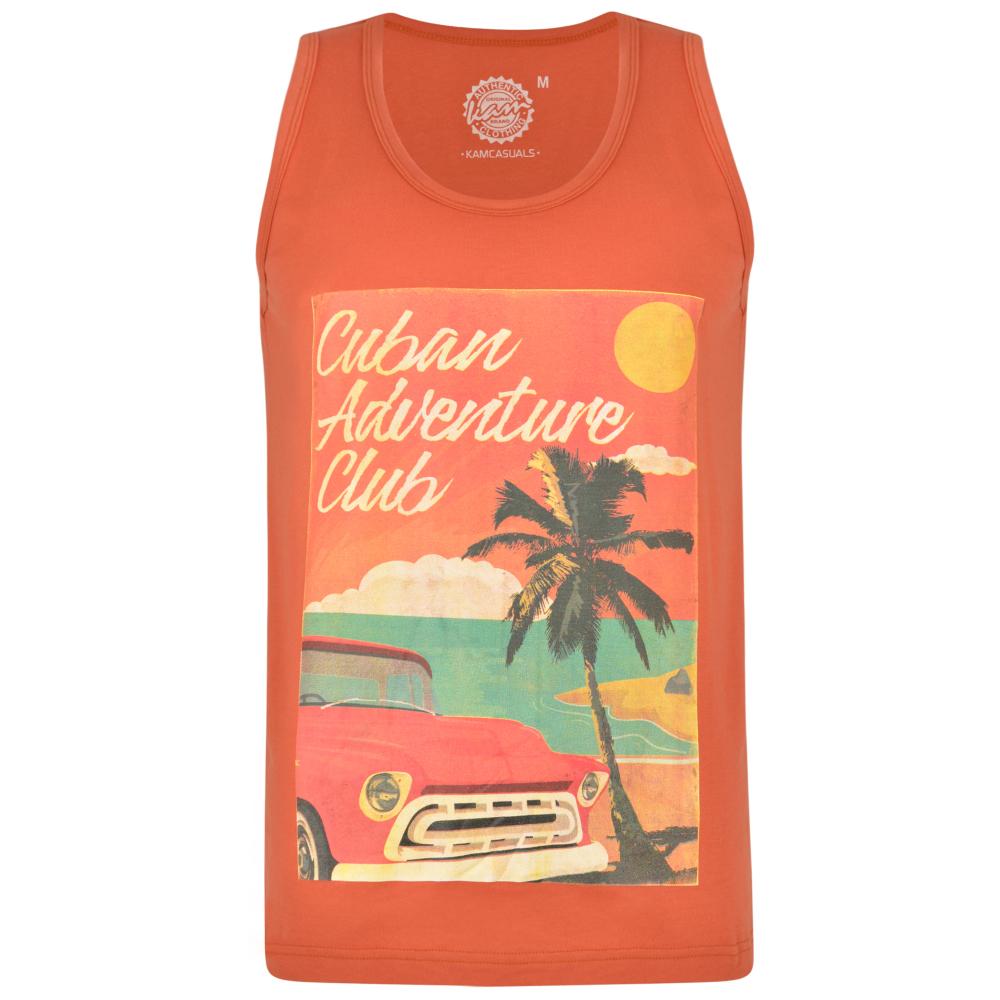 Tanktop van KAM Jeanswear met grote Cuba print