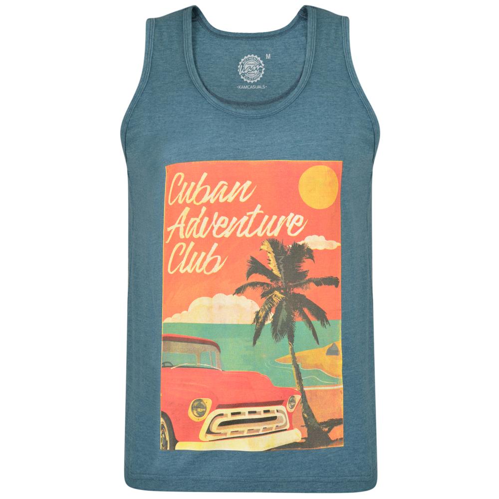 Tanktop van KAM Jeanswear met grote Cuba print.
