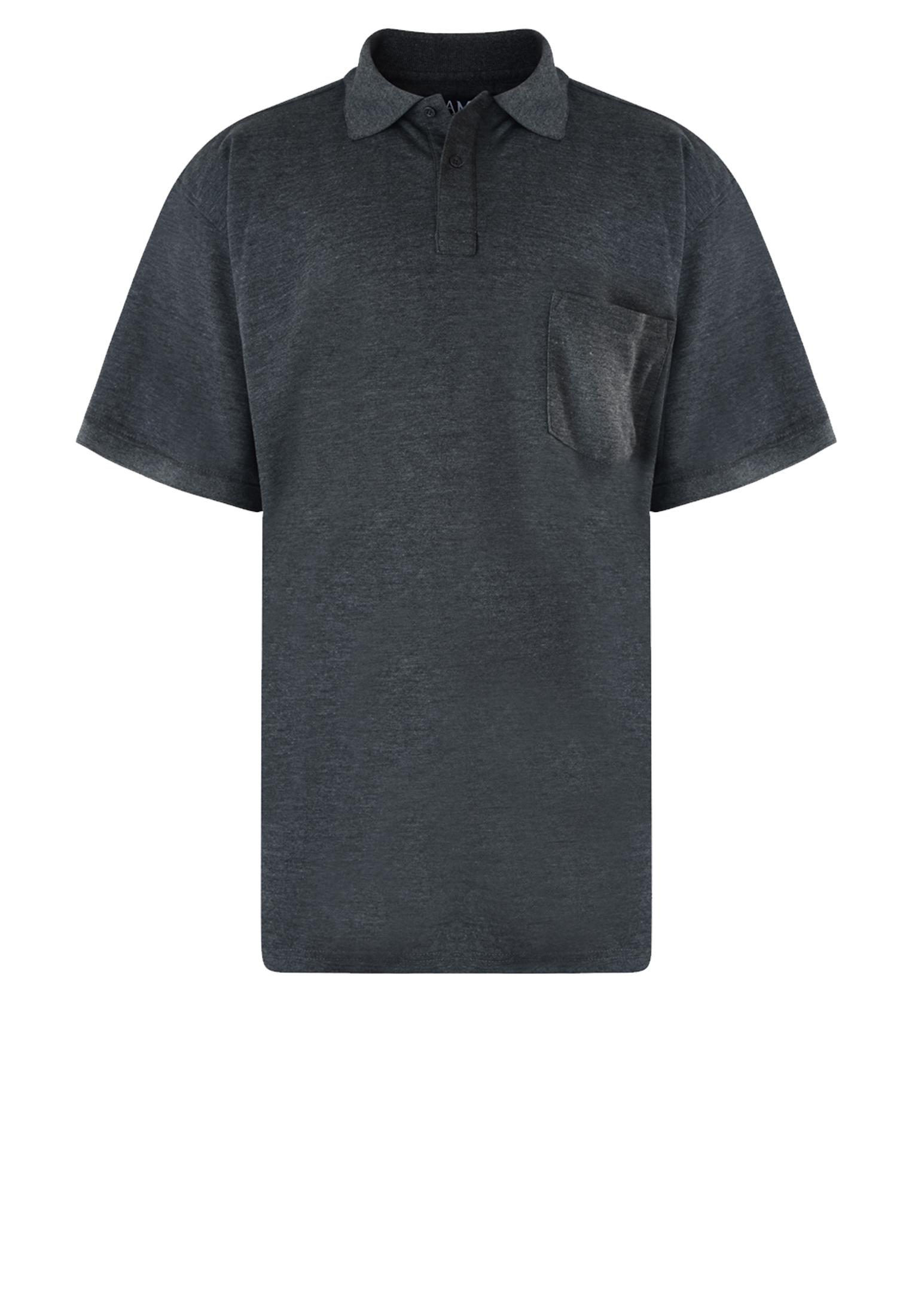 Effen polo van het merk KAM JEANSWEAR met een borstzakje op de linkerborst en een 3-knoopslijst. In de kleur donker grijs.
