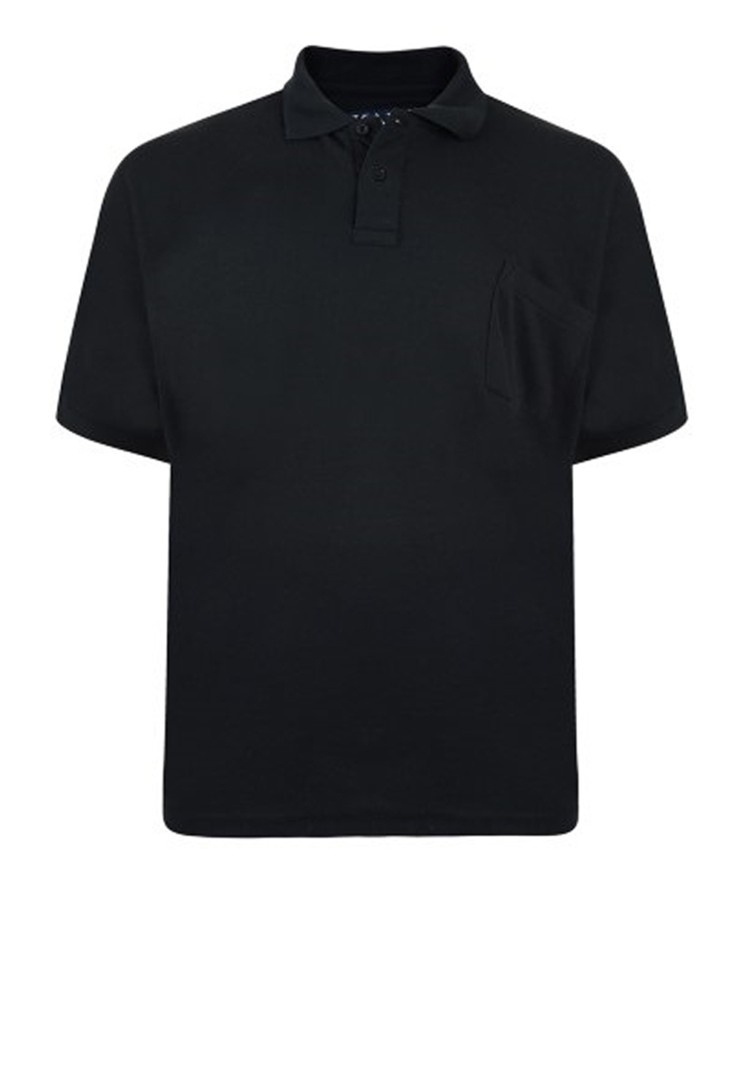 Effen polo van het merk KAM JEANSWEAR met een borstzakje op de linkerborst en een 3-knoopslijst. in de kleur zwart.