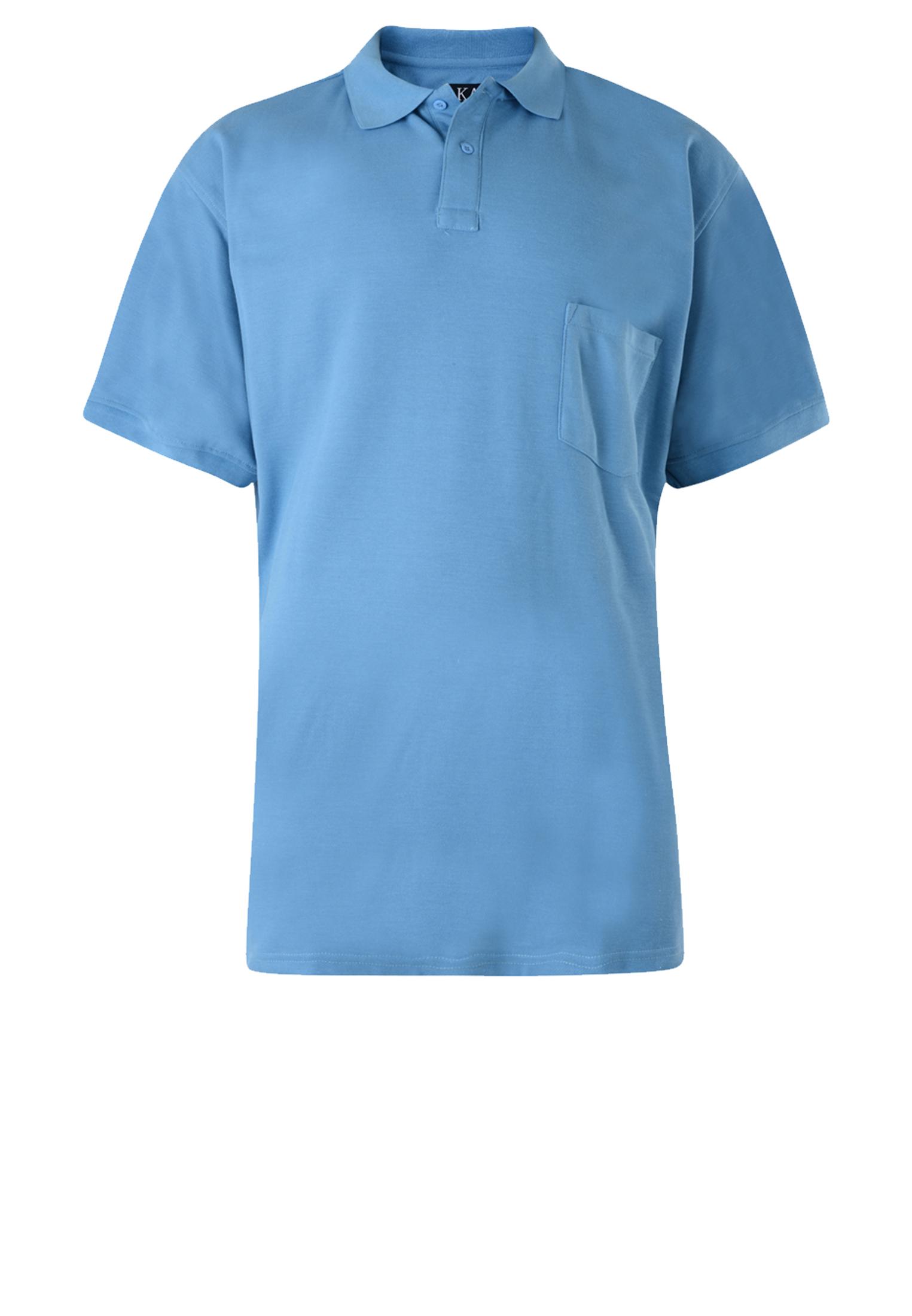 Effen polo van het merk KAM JEANSWEAR met een borstzakje op de linkerborst en een 3-knoopslijst. In de kleur licht blauw.