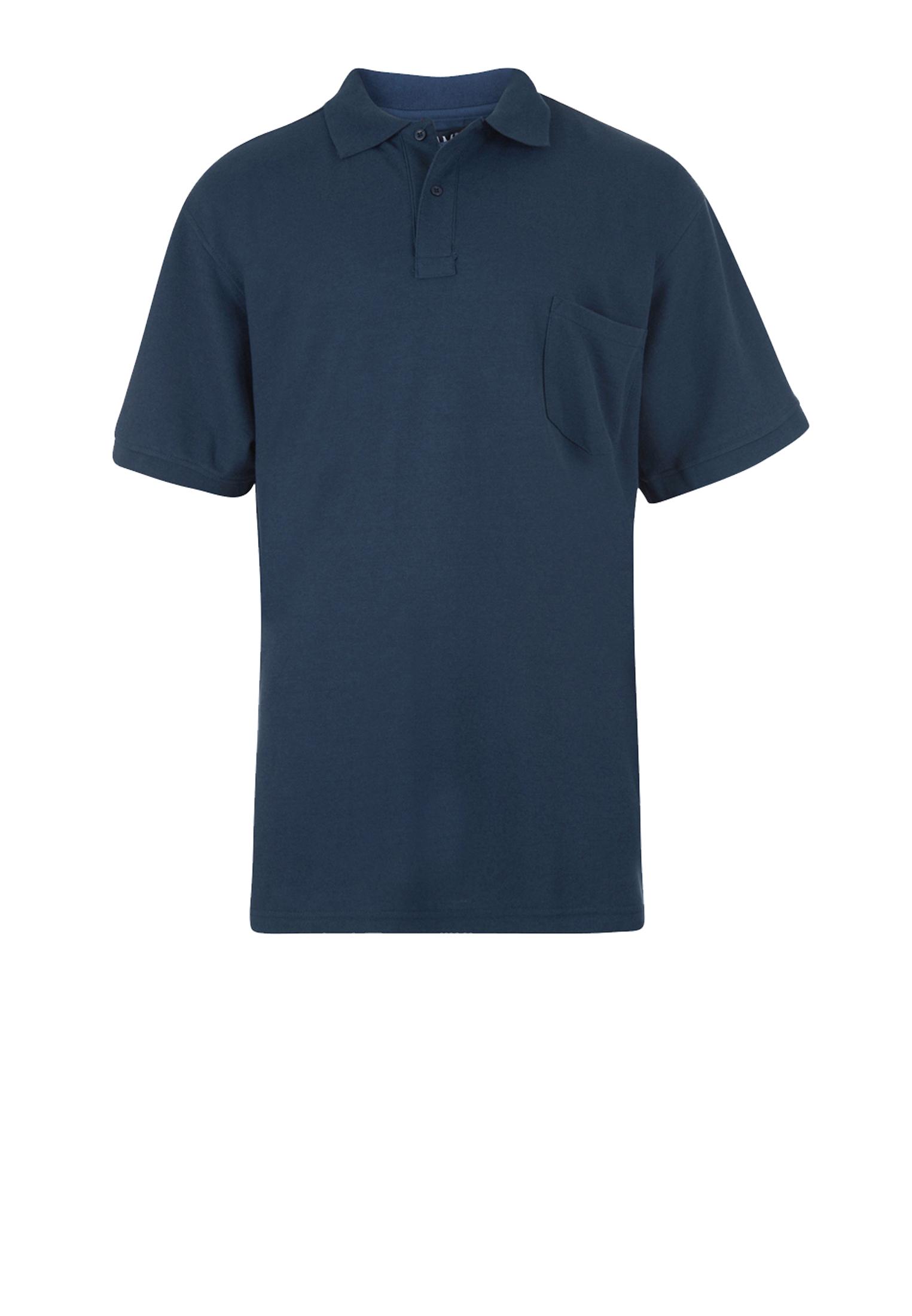 Effen polo van het merk KAM JEANSWEAR met een borstzakje op de linkerborst en een 3-knoopslijst. In de kleur demin.