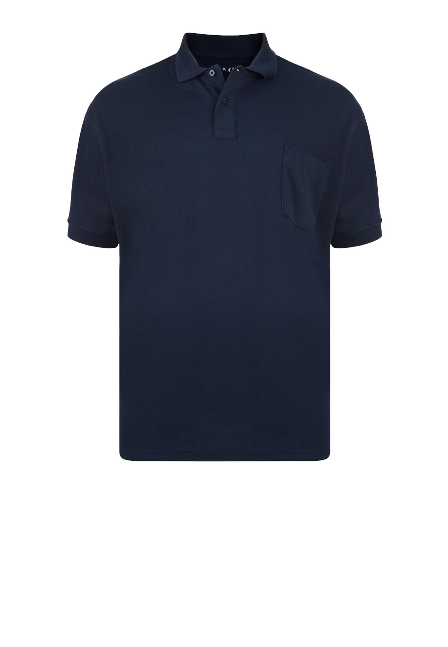 Effen polo van het merk KAM JEANSWEAR met een borstzakje op de linkerborst en een 3-knoopslijst. In de kleur navy.