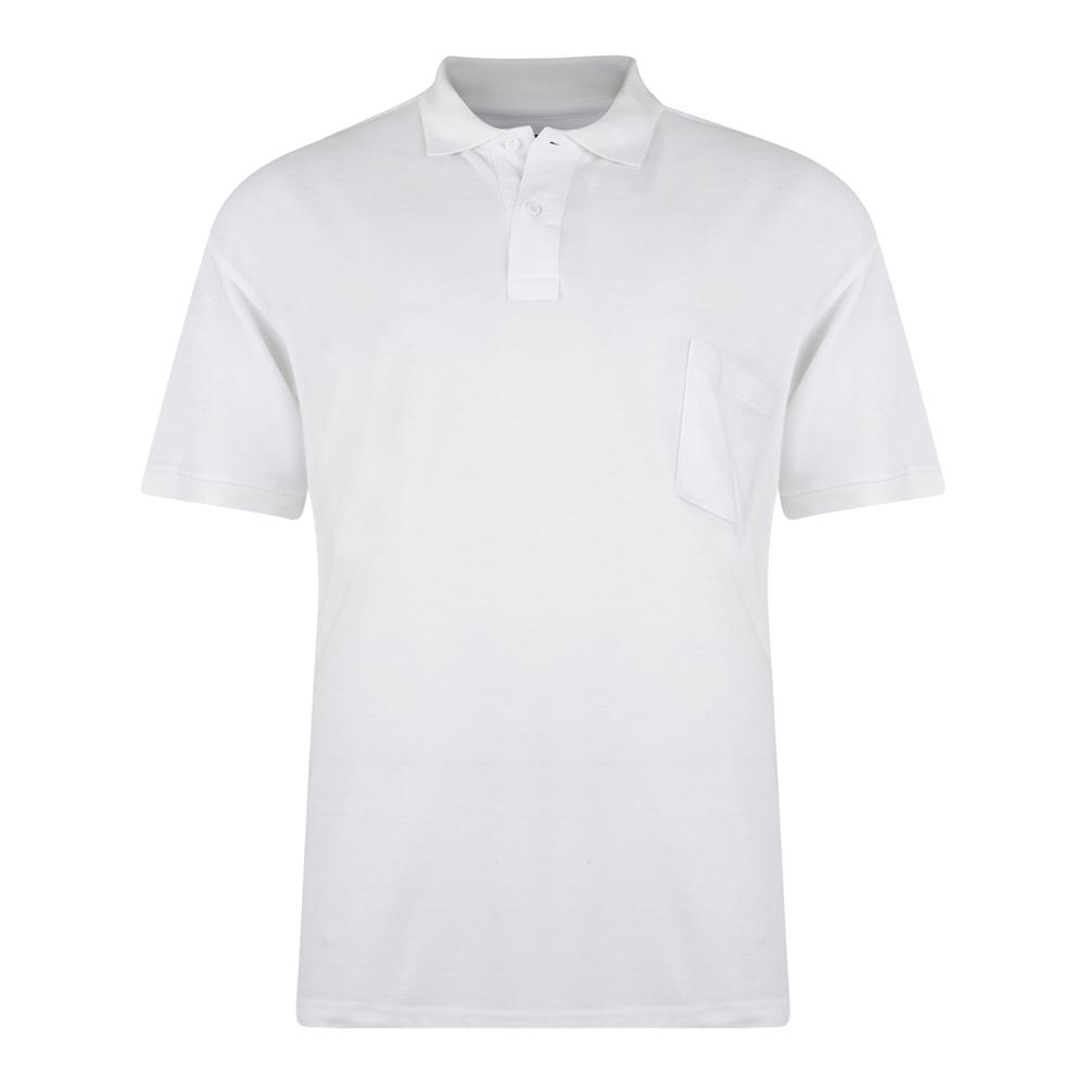 Effen polo van het merk KAM JEANSWEAR met een borstzakje op de linkerborst en een 3-knoopslijst. In de kleur wit.