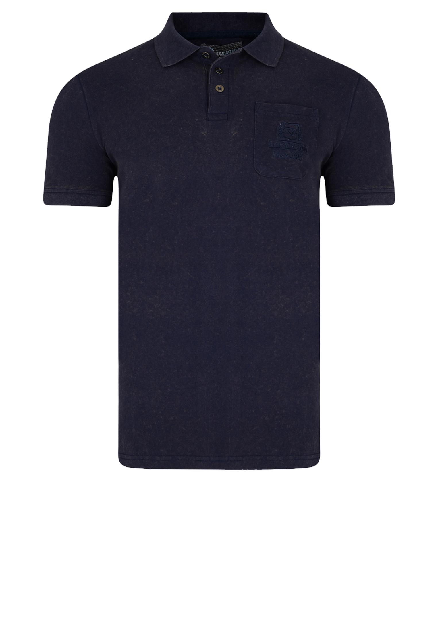 Mooi Pique polo met korte mouw van het merk KAM JEANSWEAR met een borst zakje op de linker voorkant in de kleur navy
