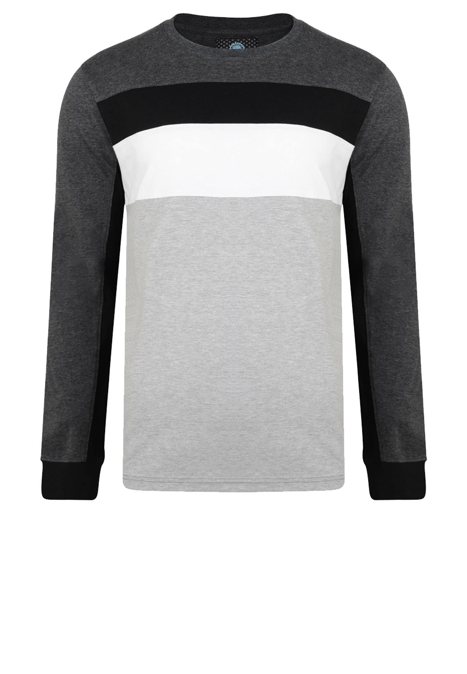 KAM JEANSWEAR longsleeve met een ronde hals en een streep print op de borst . Het shirt is donkergrijs van kleur