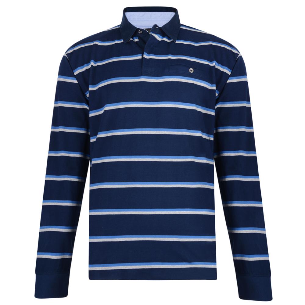 KAM Jersey Stripe Polo met lange mouwen