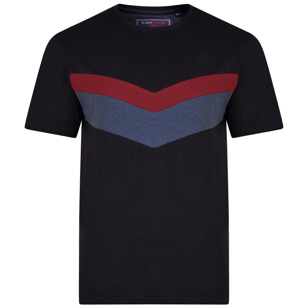 """T-Shirt van KAM Jeanswear met contrast kleuren op de borst """" Cut & Saw"""""""
