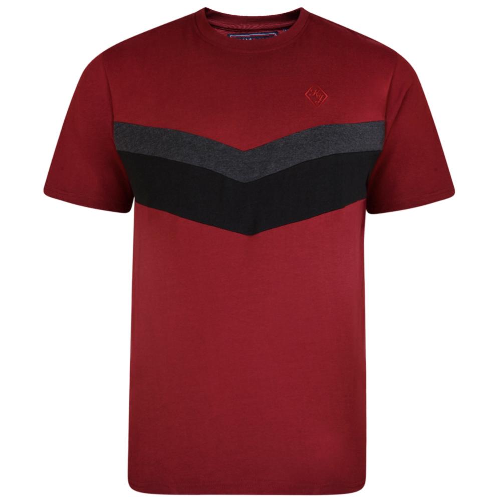 """T-Shirts """"Cut & Saw"""" van KAM Jeanswear kleur Burgundy met contrast kleuren op de borst."""