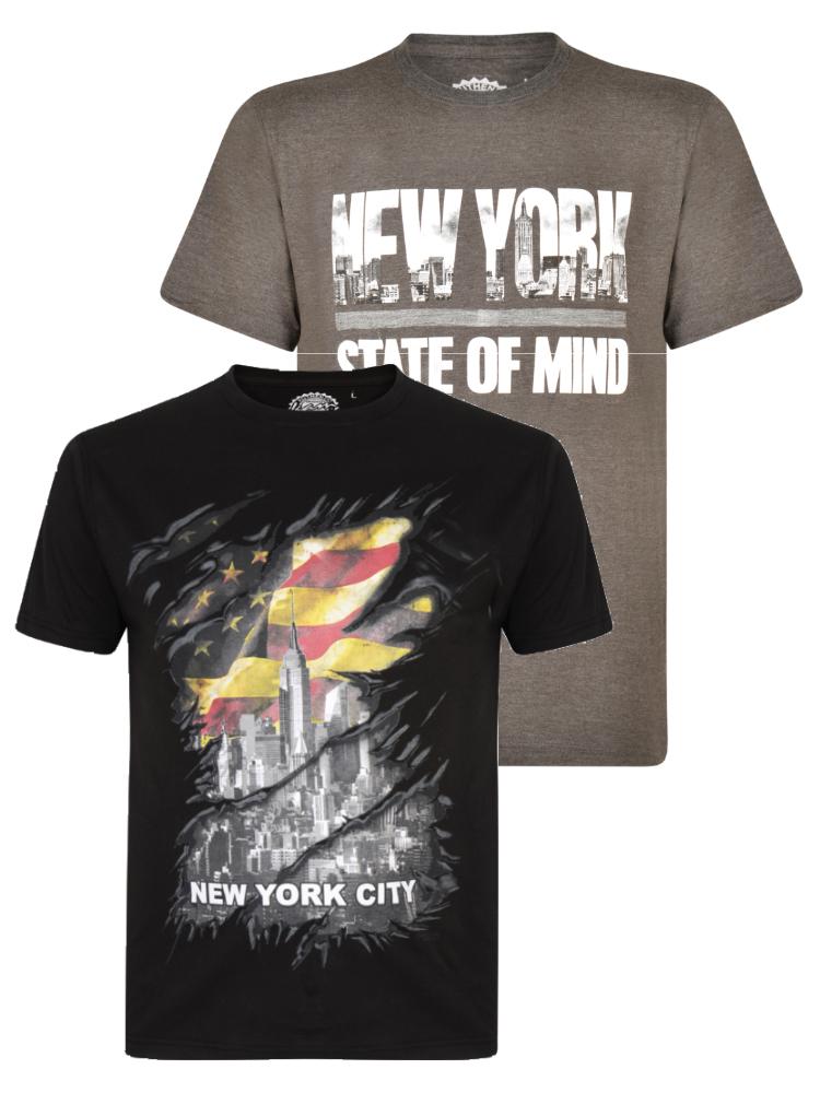 Dubbelpack met twee verschillende t-shirts van KAM met print New York City