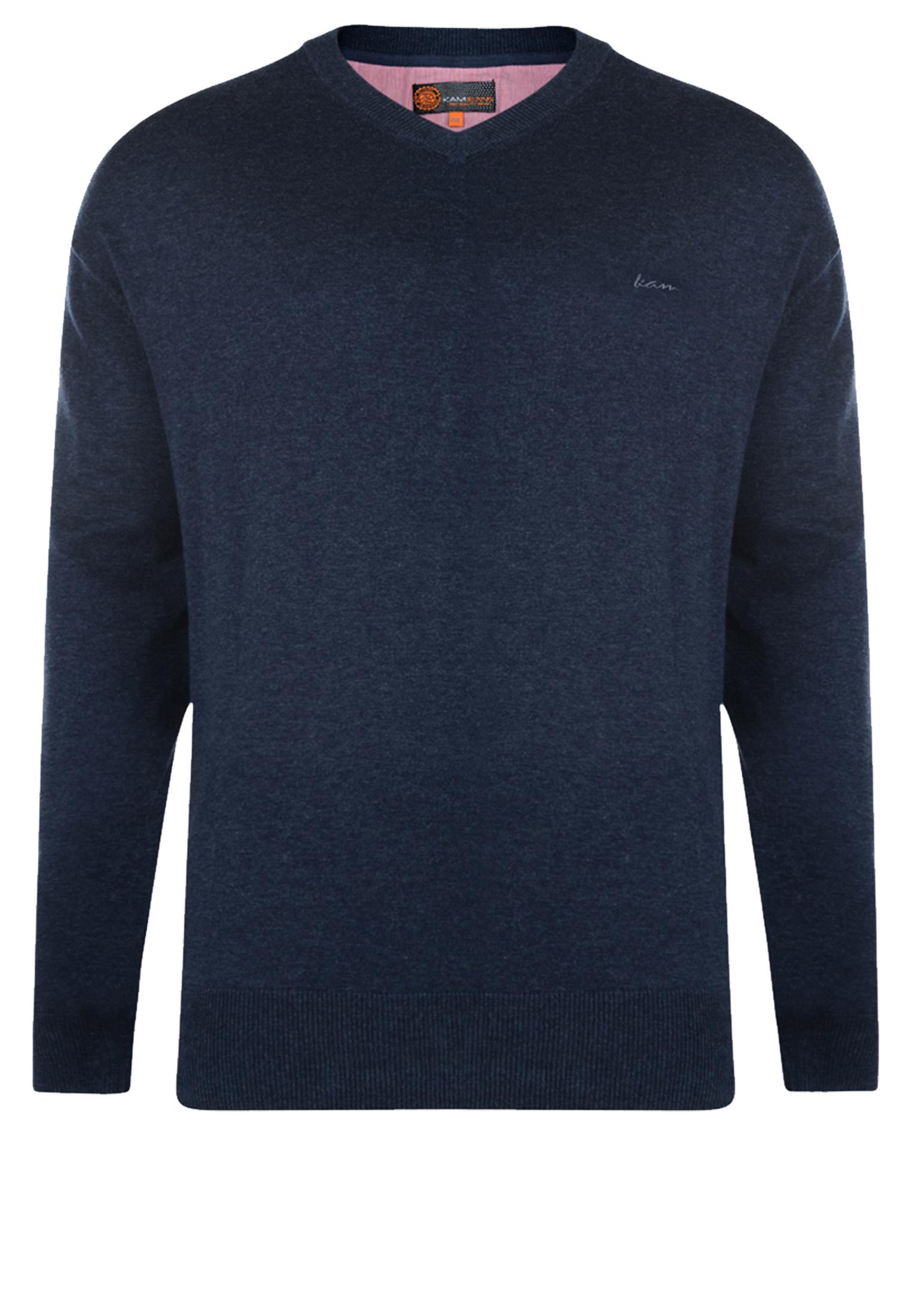 Fijn gebreide blauwe effen trui van KAM JEANSWEAR met V-hals. Deze dunne trui heeft een elastische tailleband wat zorgt voor een mooie pasvorm. Dit multifunctionele artikel kan casual op een spijkerbroek gedragen worden of zakelijk over een overhemd op een pantalon. Een heerlijke comfortabele trui om te dragen.