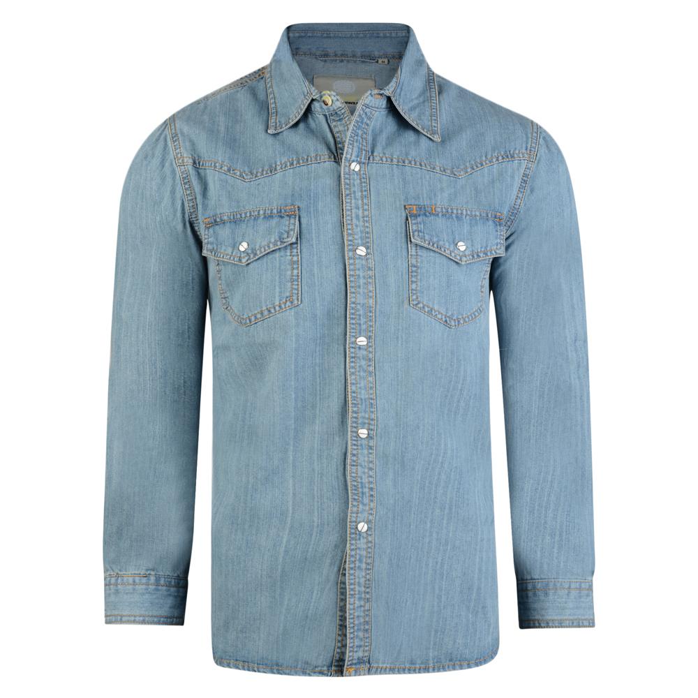 Denimoverhemd met lange mouwen - Button-up - Stijlvolle contraststiksels - 2 borstzakken - Verkrijgbaar in Black en Stonewash