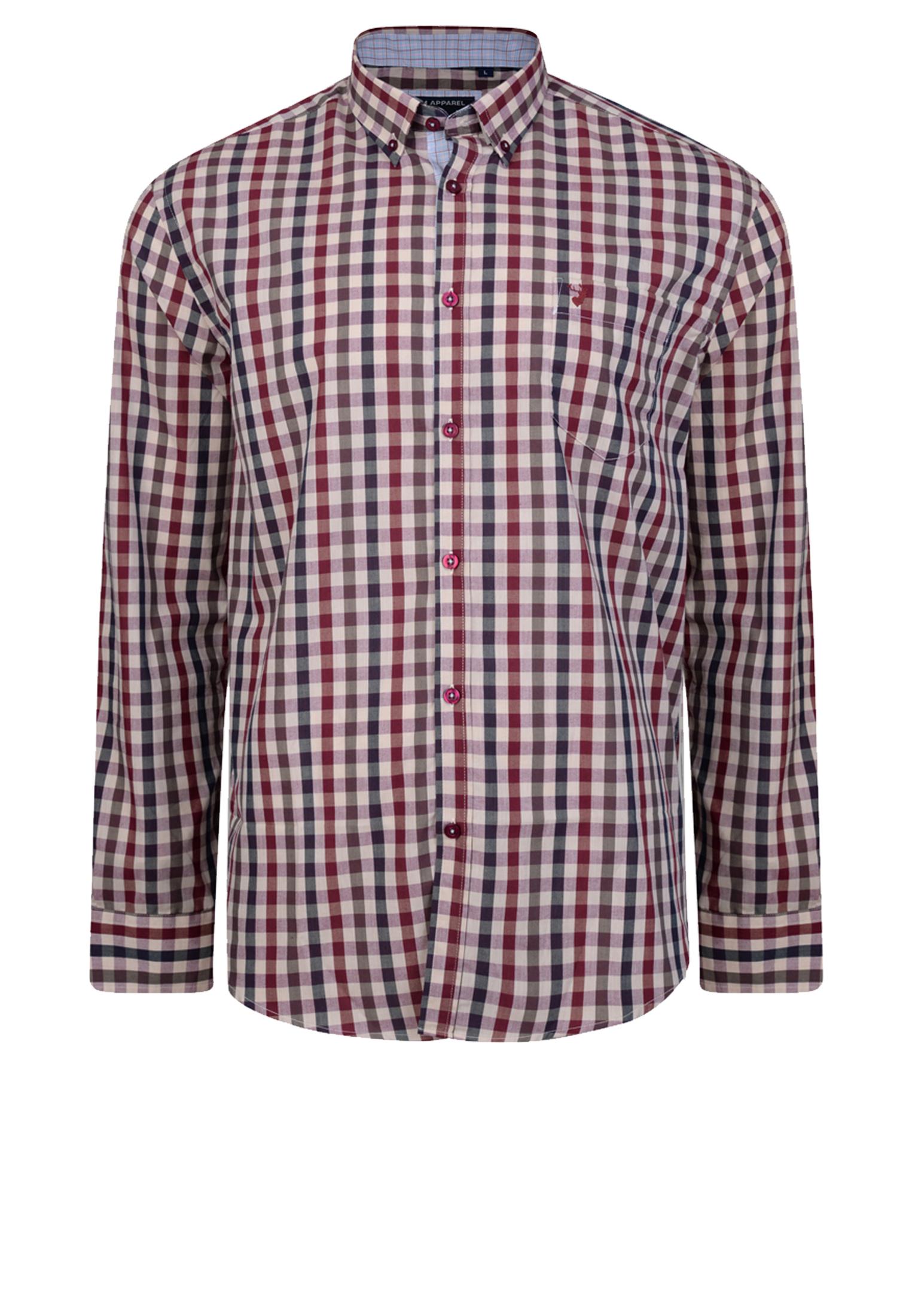 Geruit overhemd van KAM JEANSWEAR met button down kraag, met open zakje op de linker borst, contrasterende stof aan de kraag. Het overhemd is rond afgezoomd. Erg leuk overhemd om bijvoorbeeld casual te dragen.