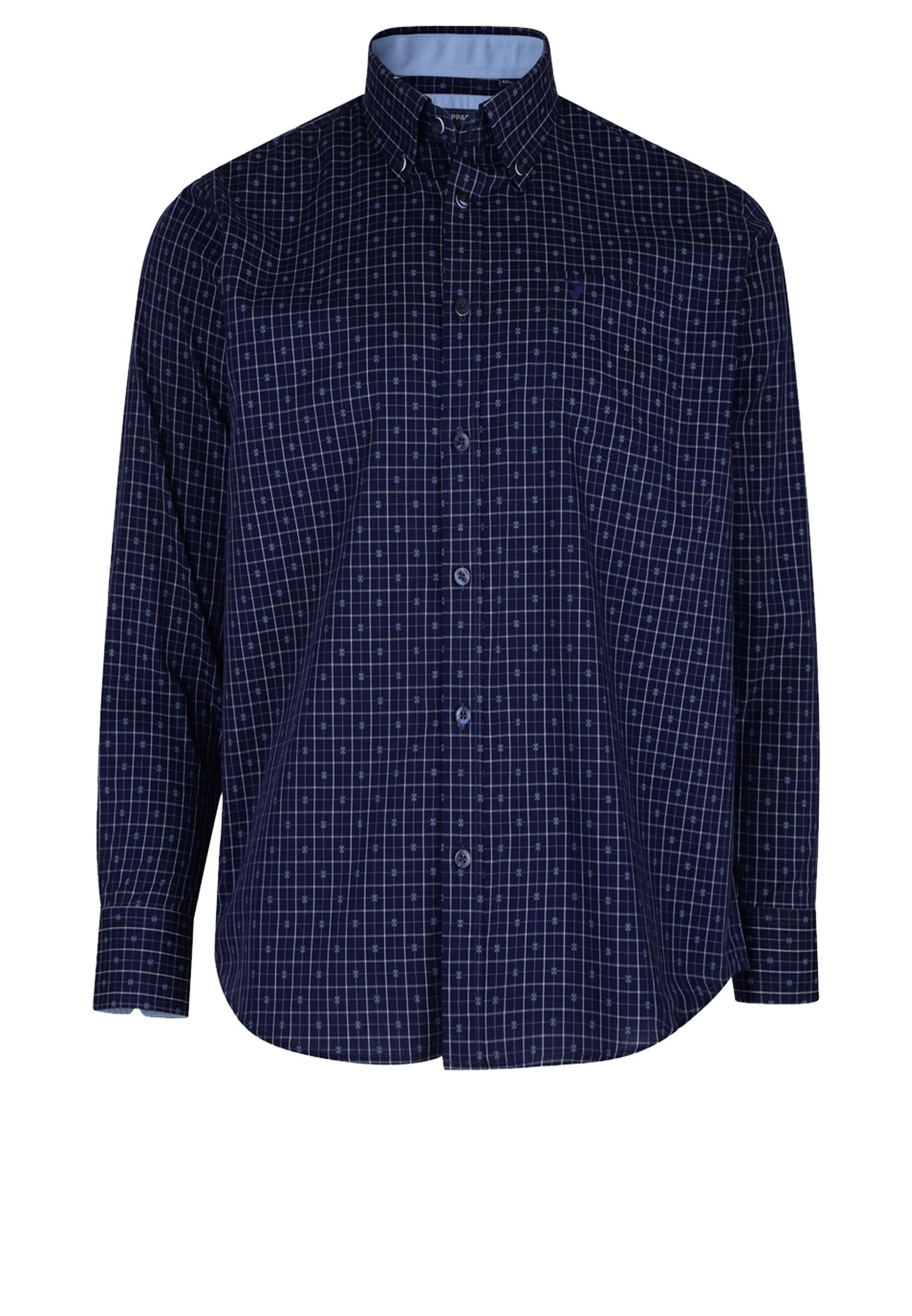 Geruit overhemd van KAM JEANSWEAR met button down kraag, met open zakje op de linker borst, contrasterende stof aan de kraag. In de kleur donker blauw. Het overhemd is rond afgezoomd.