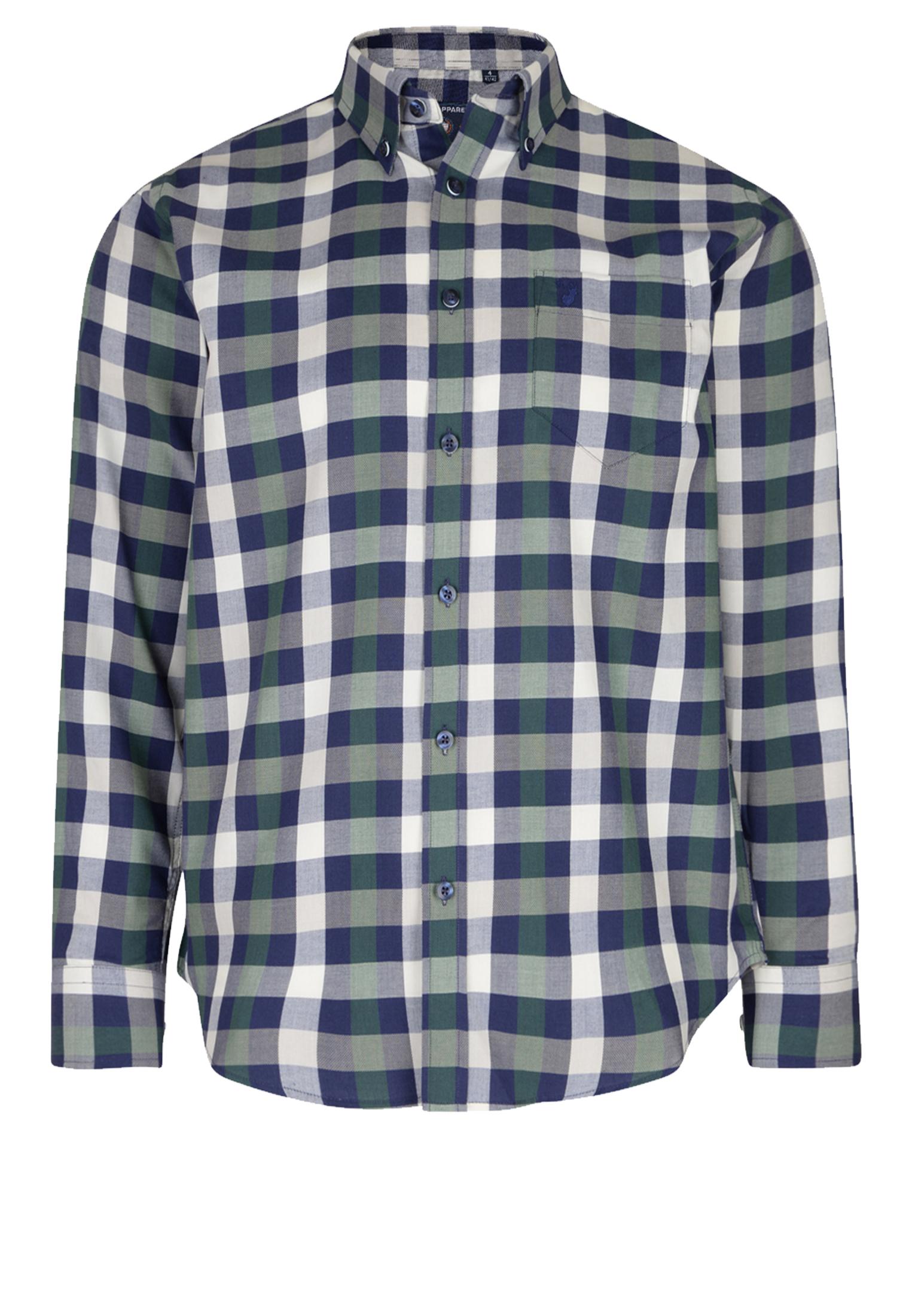 Geruit overhemd van Casa Moda met button down kraag, met zakje op de linker borst. Het shirt heeft een ruit in de kleuren donkerblauw, groen en wit Het overhemd is rond afgezoomd. Erg leuk overhemd om bijvoorbeeld casual te dragen.