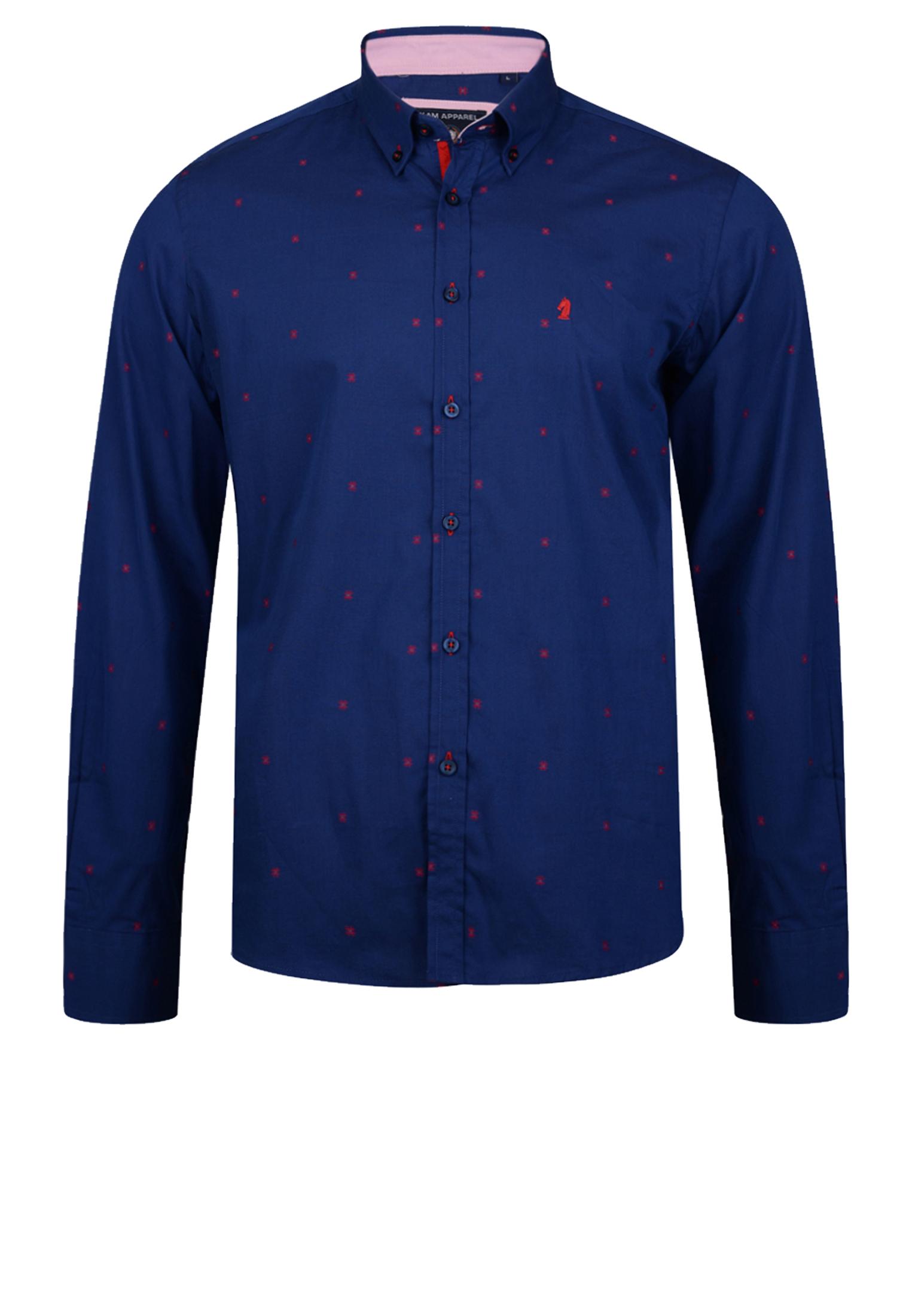 Overhemd van KAM JEANSWEAR met button down kraag, met open zakje op de linker borst, contrasterende stof aan de kraag en contrasterende knopen. In de kleur donker blauw met een rood printje in de stof geweven. Het overhemd is rond afgezoomd.