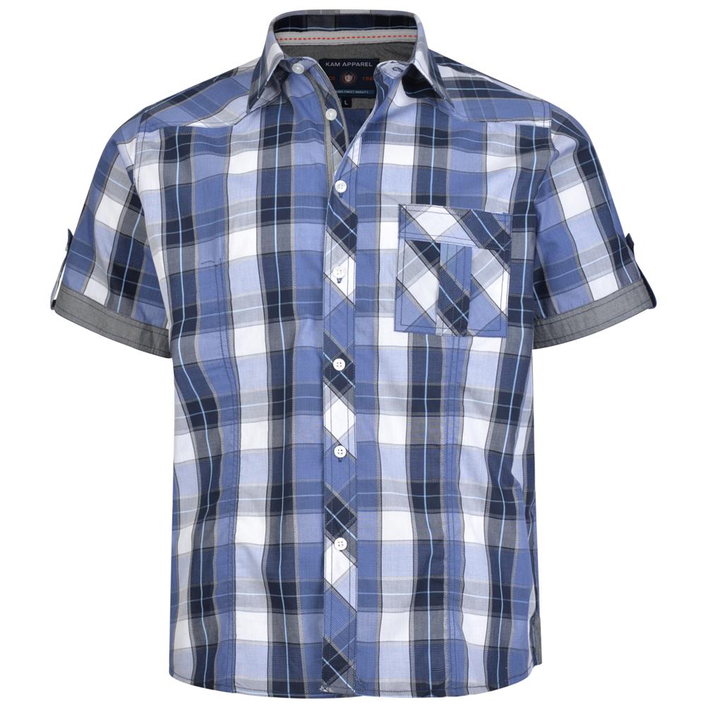 Overhemd van KAM met retro look. Korte mouwen.