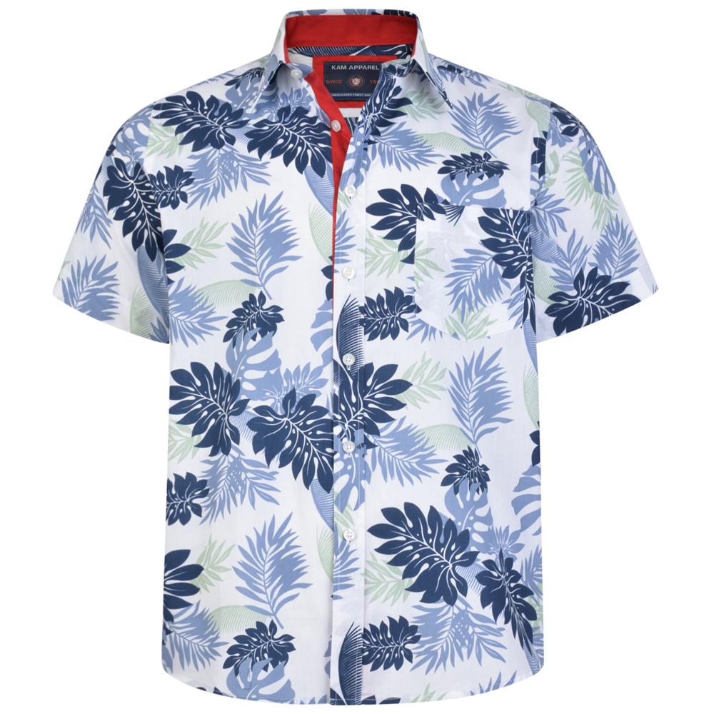 Overhemd van KAM met vrolijke blauwe print. Korte mouwen.
