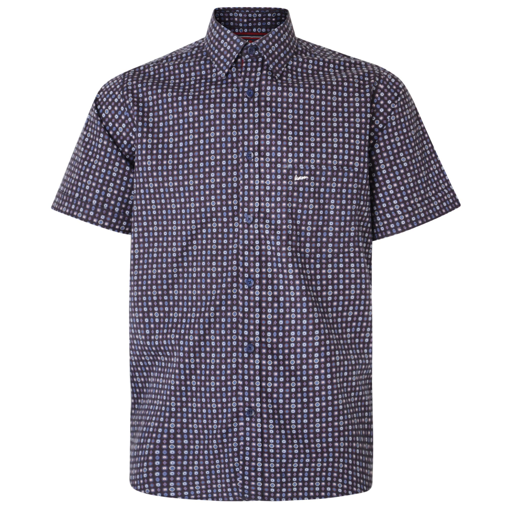 Dobby print overhemd van merk KAM Jeanswear in de kleur navy, gemaakt van 100% katoen.