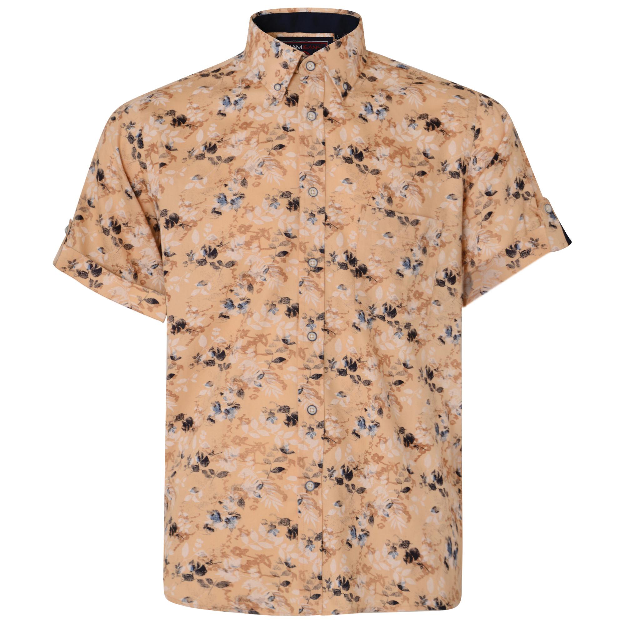 Overhemd Floral Print van merk KAM Jeanswear, zandkleur, gemaakt van 100% katoen.