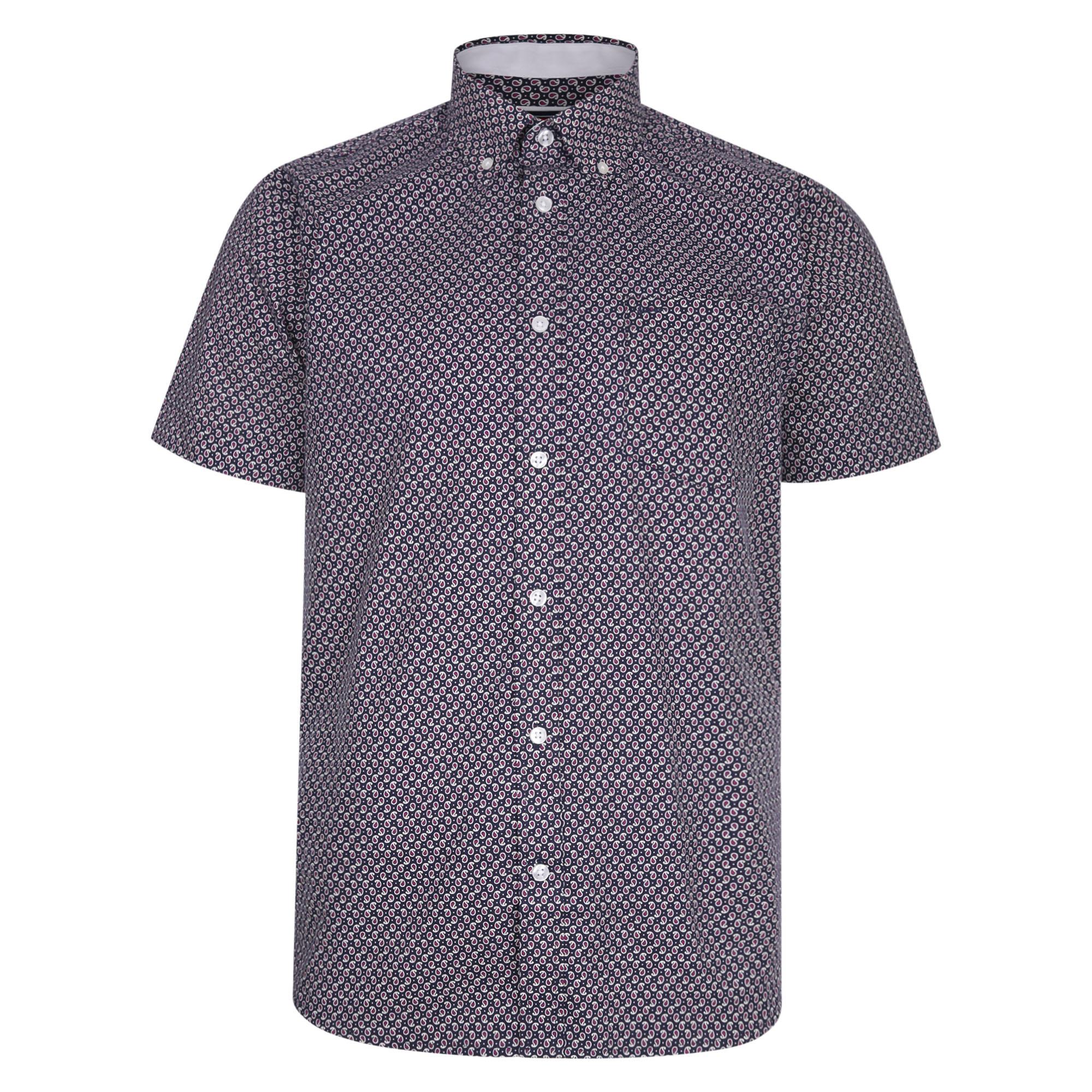 overhemd met print van merk KAM JEANSWEAR in de kleur navy, gemaakt van 100% katoen.