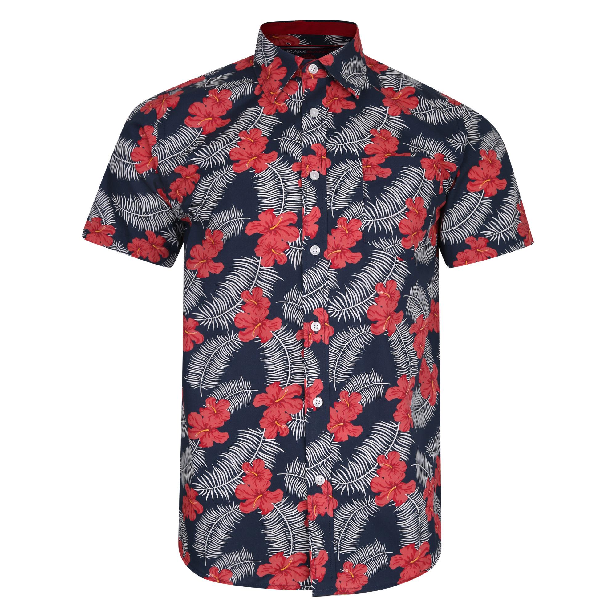 """Overhemd """"Floral"""" van merk KAM JEANSWEAR in de kleur navy met rood floral print, gemaakt van 65% cotton en 35% polyester."""