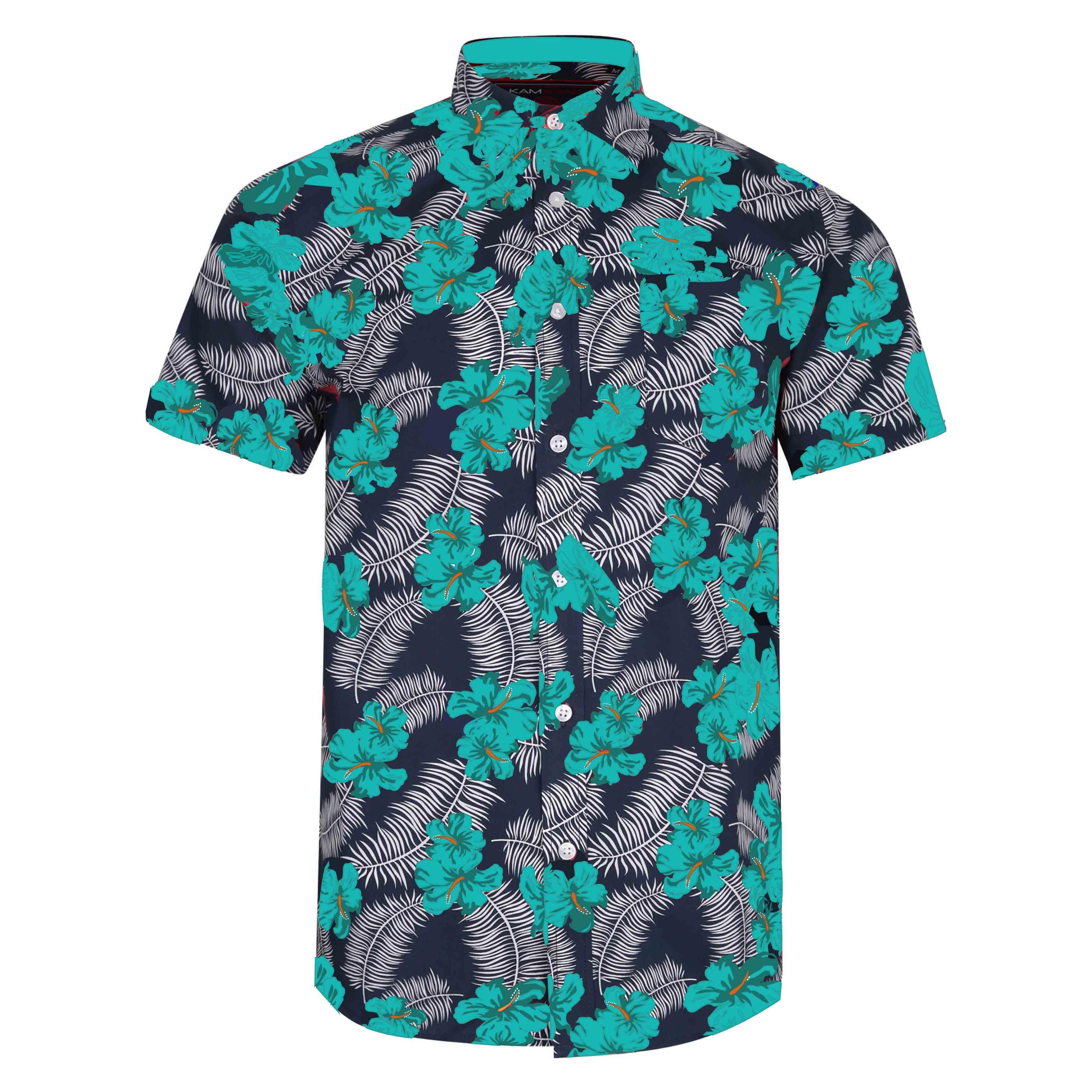 """Overhemd """"Floral"""" van merk KAM JEANSWEAR in de kleur turquoise, gemaakt van poly-cotton."""