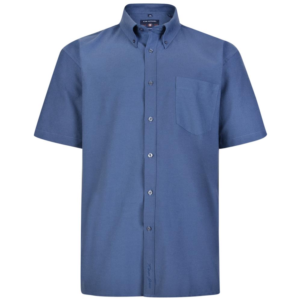 Overhemd van KAM in de kleur navy blauw. Korte mouwen.