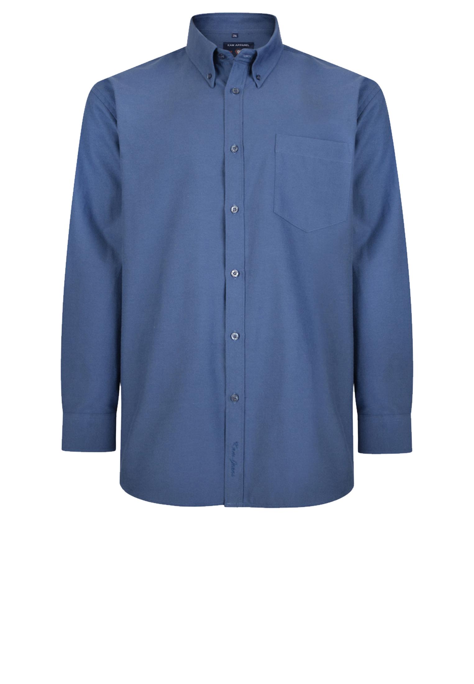 Tijdloos overhemd met lange mouw van het merk KAM JEANSWEAR met een open borstzakje,button down kraag. Het overhemd is rond afgezoomd.