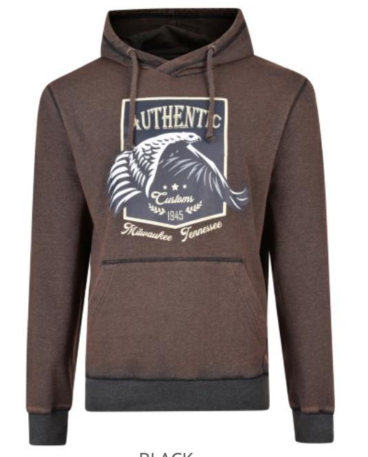 Mooie sweater van KAM Jeanswear met Eagle print, twee zakken, Acid Wash look.