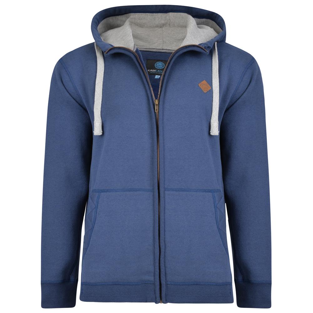 Hoody vest van KAM in de kleur demin blauw.