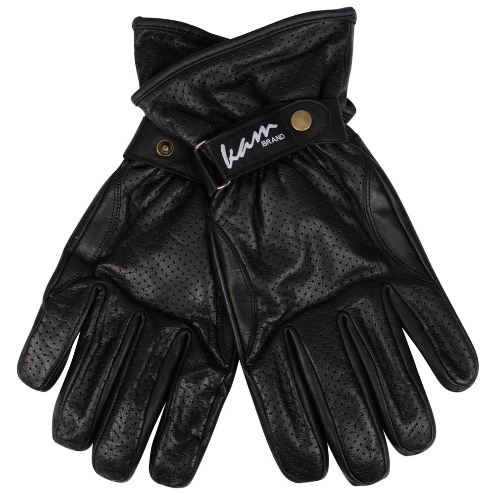 Handschoenen 100% leer van merk KAM Jeanswear in de kleur zwart, gemaakt van echt leder.