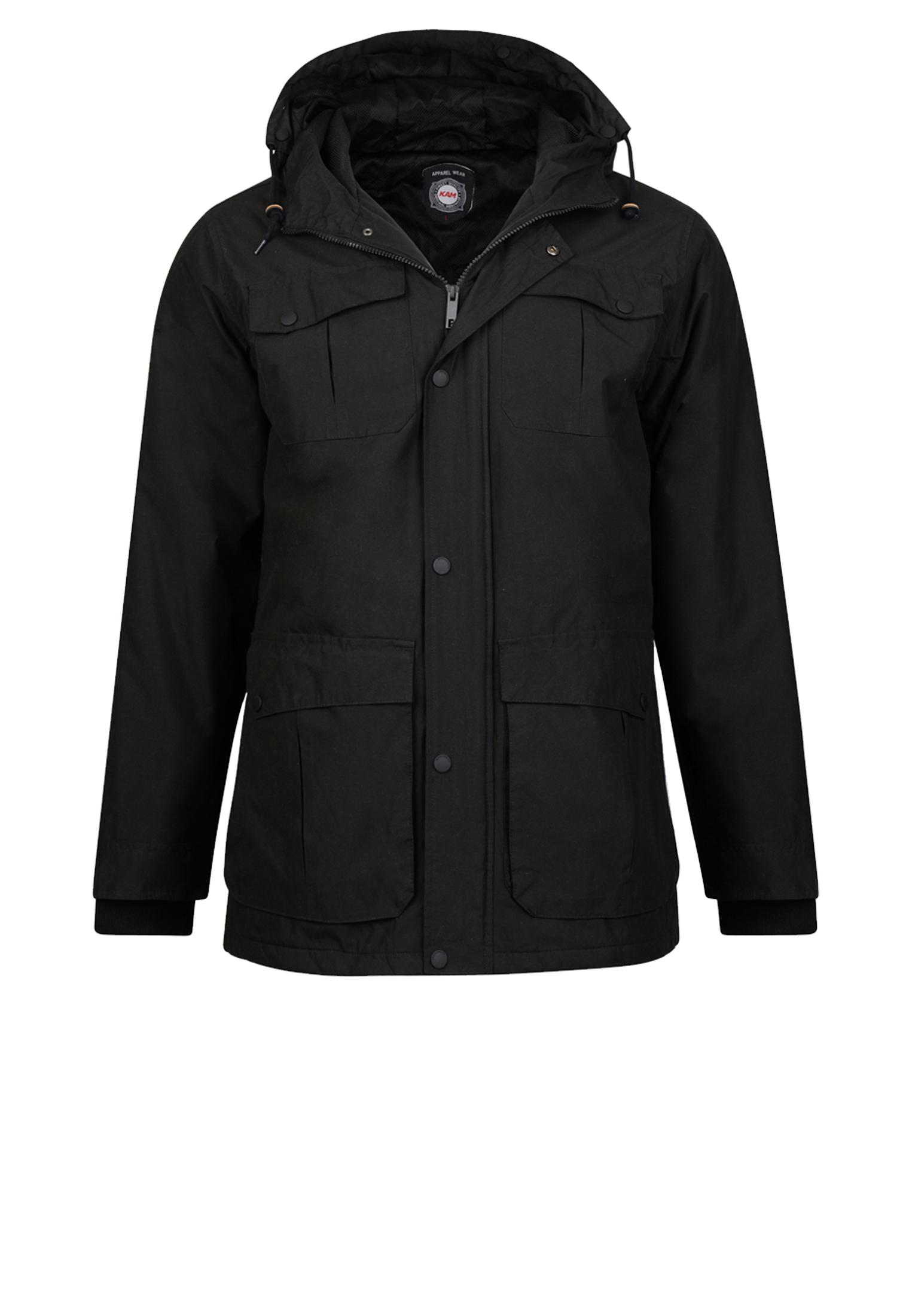 Stoere, halflange winterjas van het merk KAM JEANSWEAR voorzien van 2 grote zakken, 2 borstzakken waarvan 2 afsluitbaar met een drukknoop. De jas is voorzien van elastisch rib-breisel in de mouwen.